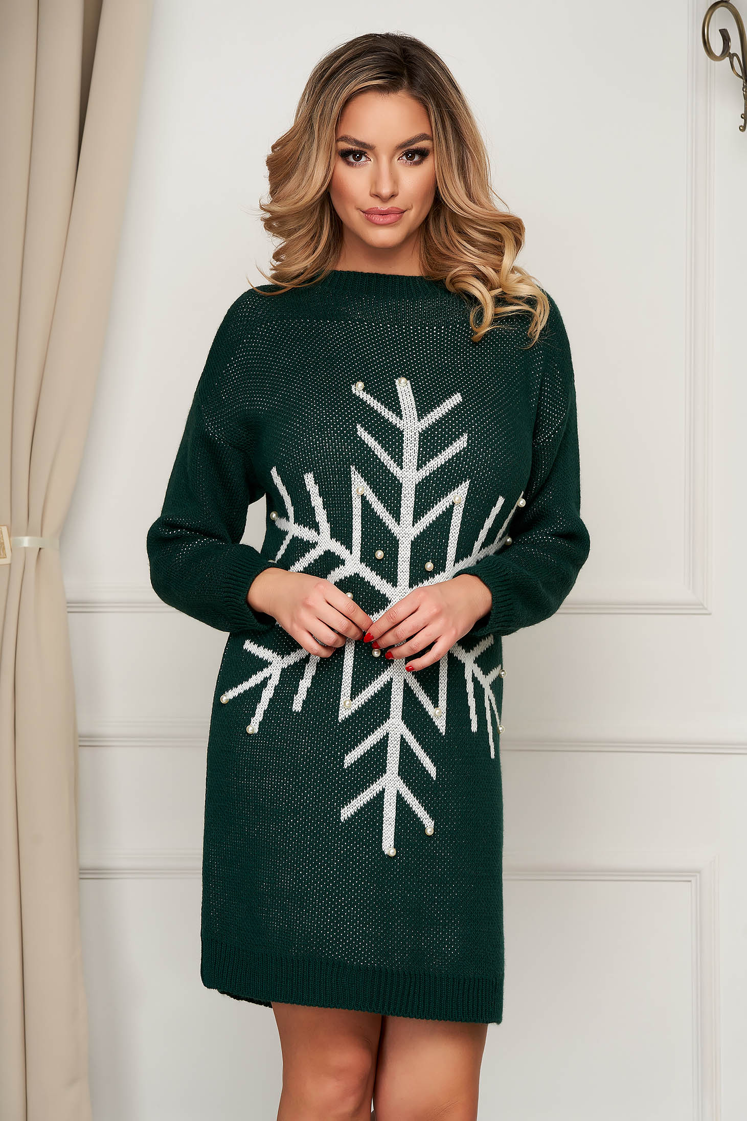 Rochie SunShine verde din tricot elastic subtire cu aplicatii cu perle cu croi larg