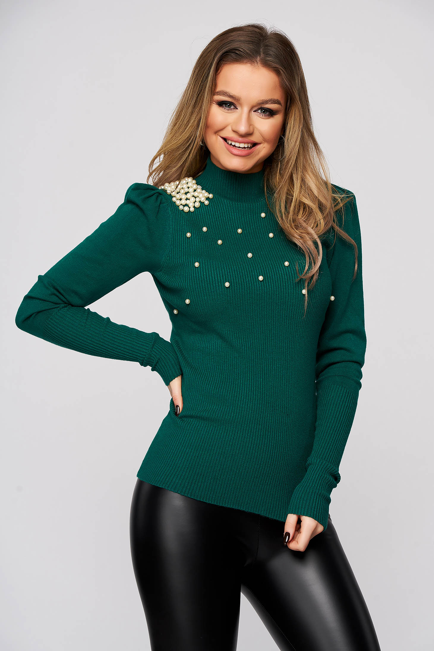 Green sweater with pearls from elastic and fine fabric with turtle neck tented from striped fabric