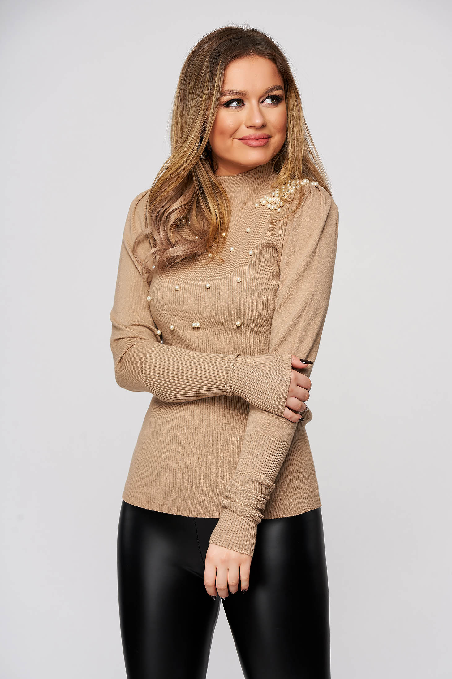 Cream sweater with pearls from elastic and fine fabric with turtle neck tented from striped fabric