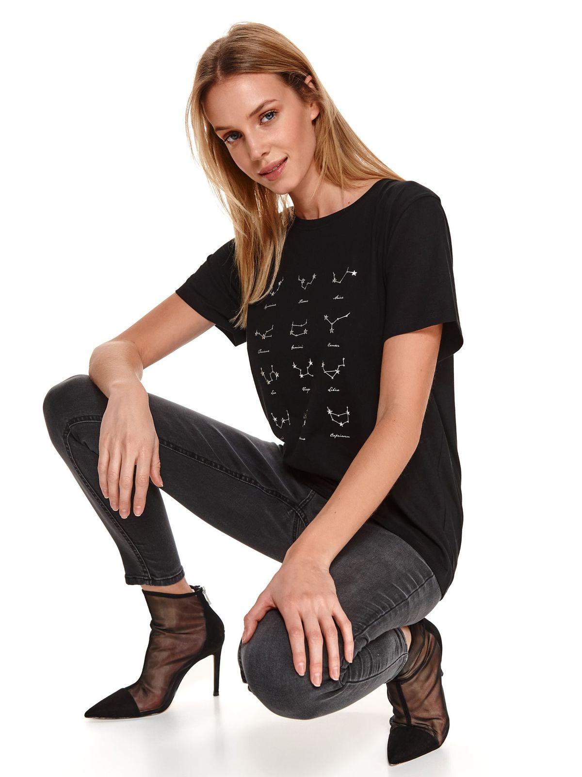 Black women`s blouse with graphic details cotton loose fit