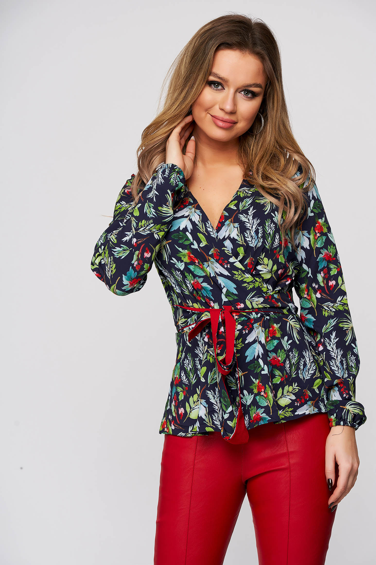 StarShinerS darkblue office women`s blouse with easy cut with v-neckline thin fabric with dots print