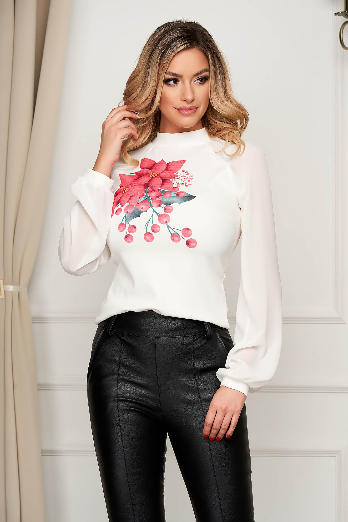 Women`s blouse StarShinerS red with tented cut with veil sleeves office with geometrical print
