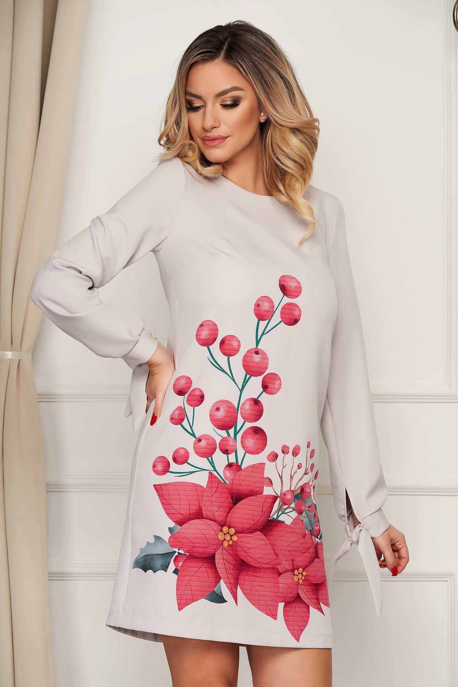 Rochie StarShinerS gri scurta eleganta din stofa cu imprimeu floral unic