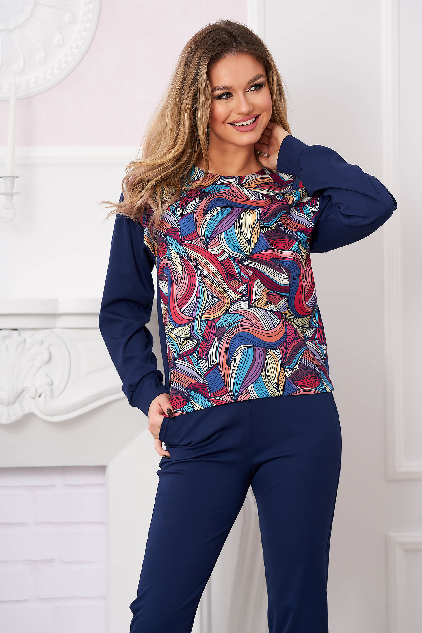 Women`s blouse StarShinerS darkblue casual flared with graphic print slightly elastic fabric