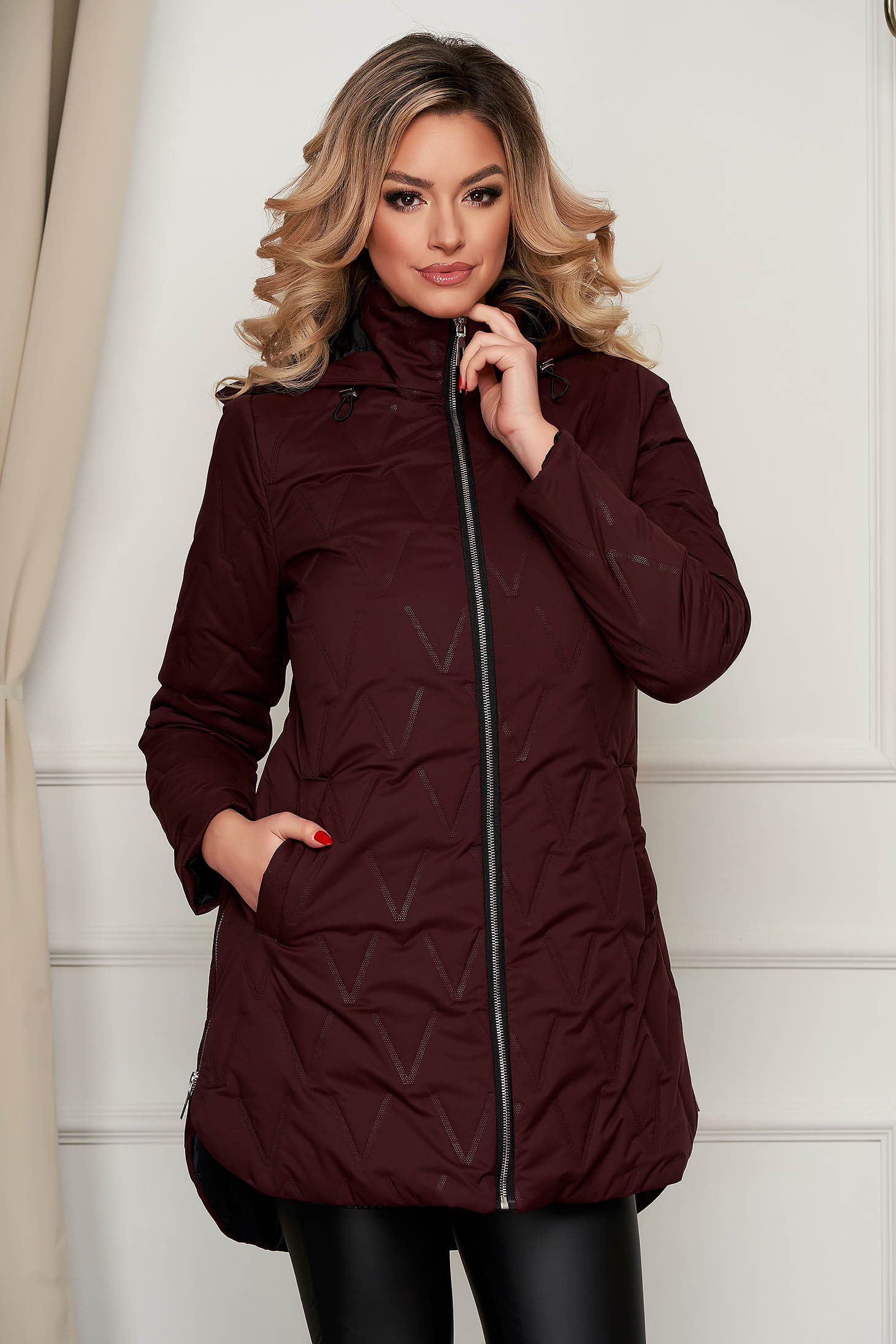 Jacket asymmetrical burgundy from slicker the jacket has hood and pockets