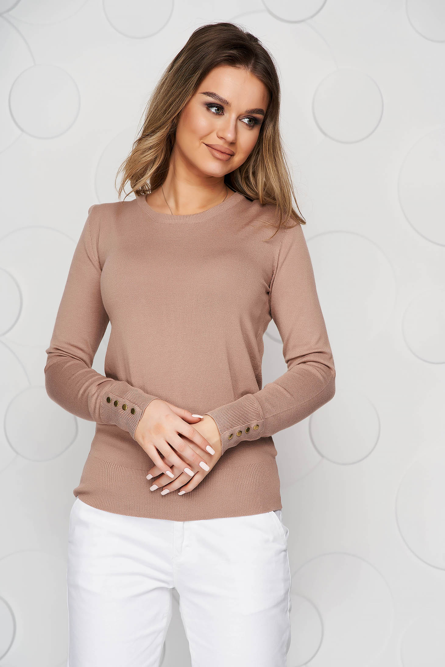 Lightbrown sweater knitted from elastic and fine fabric from striped fabric with button accessories