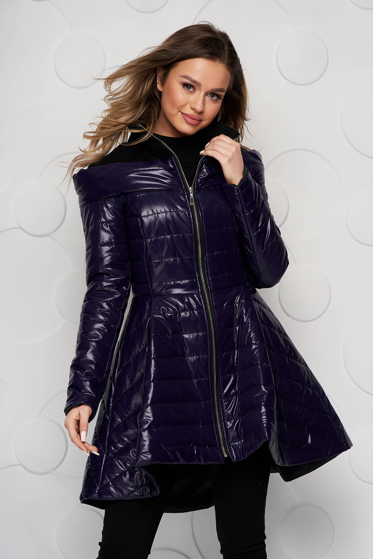 Purple from slicker jacket asymmetrical casual with inside lining