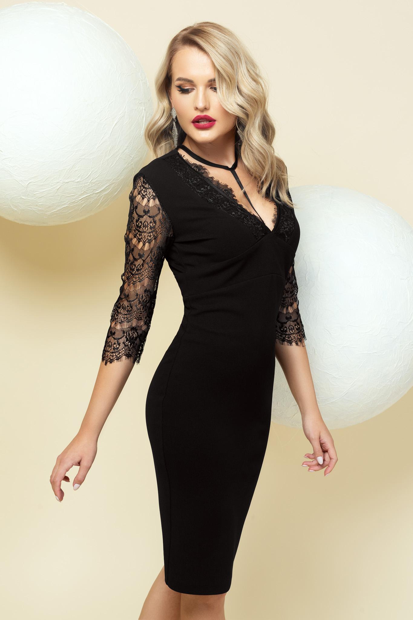 Fekete szűk szabású alkalmi midi ruha csipke díszítéssel