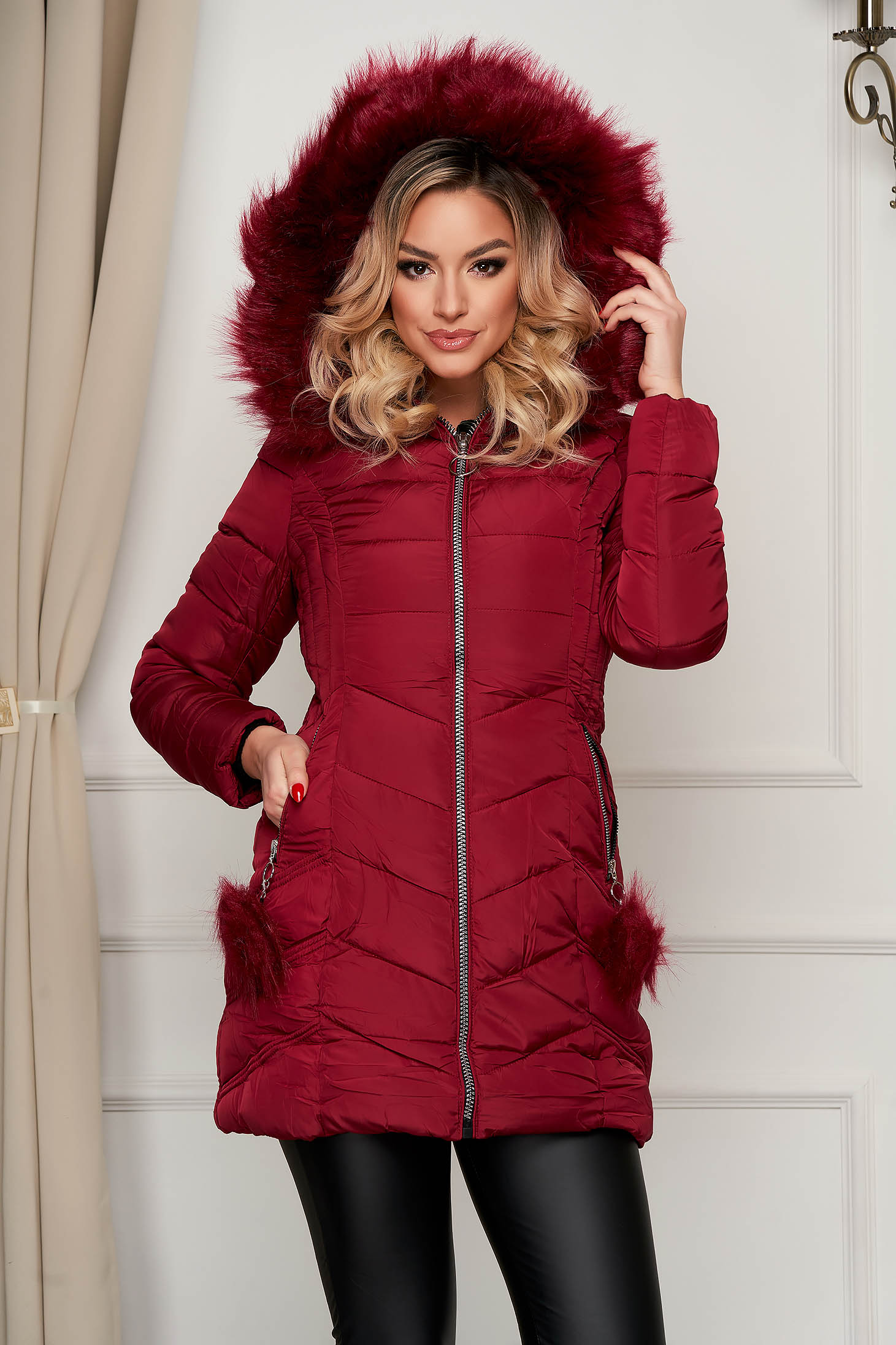 Burgundy jacket midi from slicker with faux fur accessory