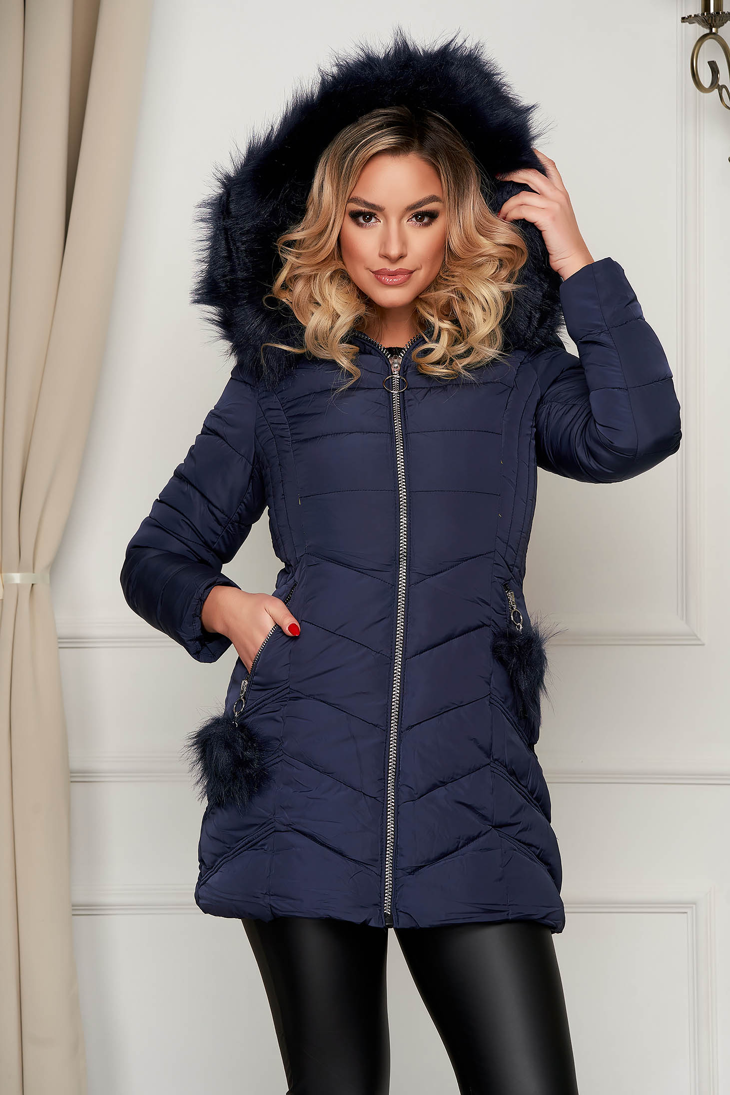 Darkblue jacket midi from slicker with faux fur accessory