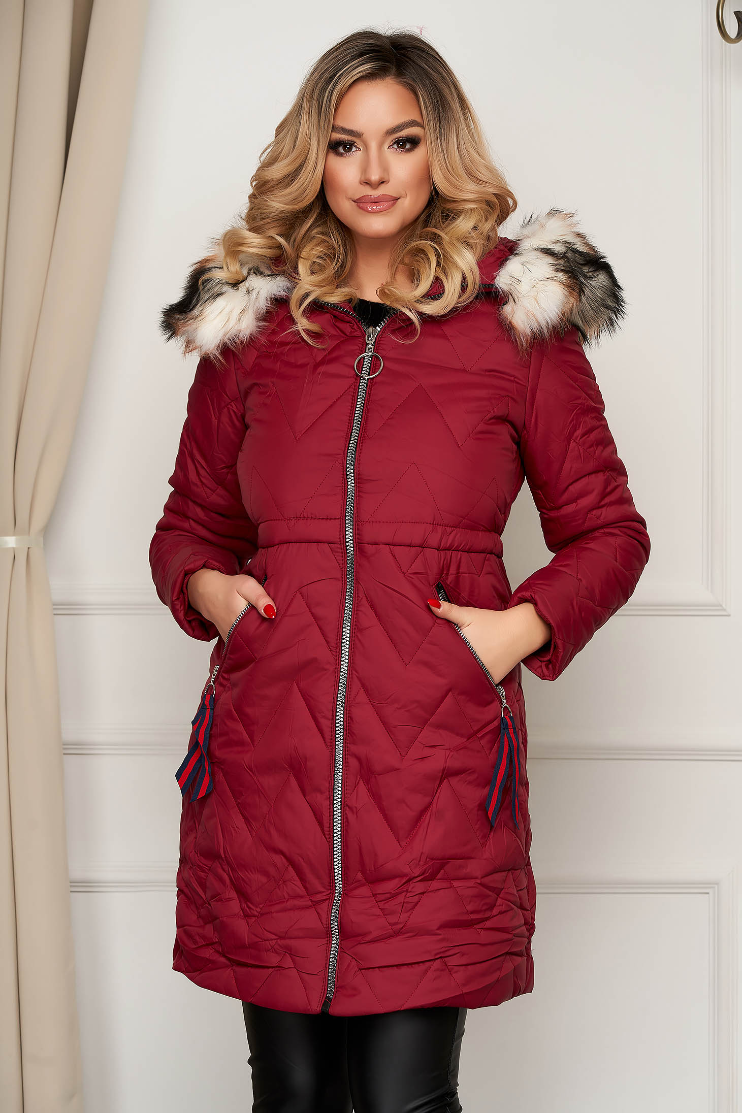 Burgundy jacket midi from slicker with faux fur lining with pockets