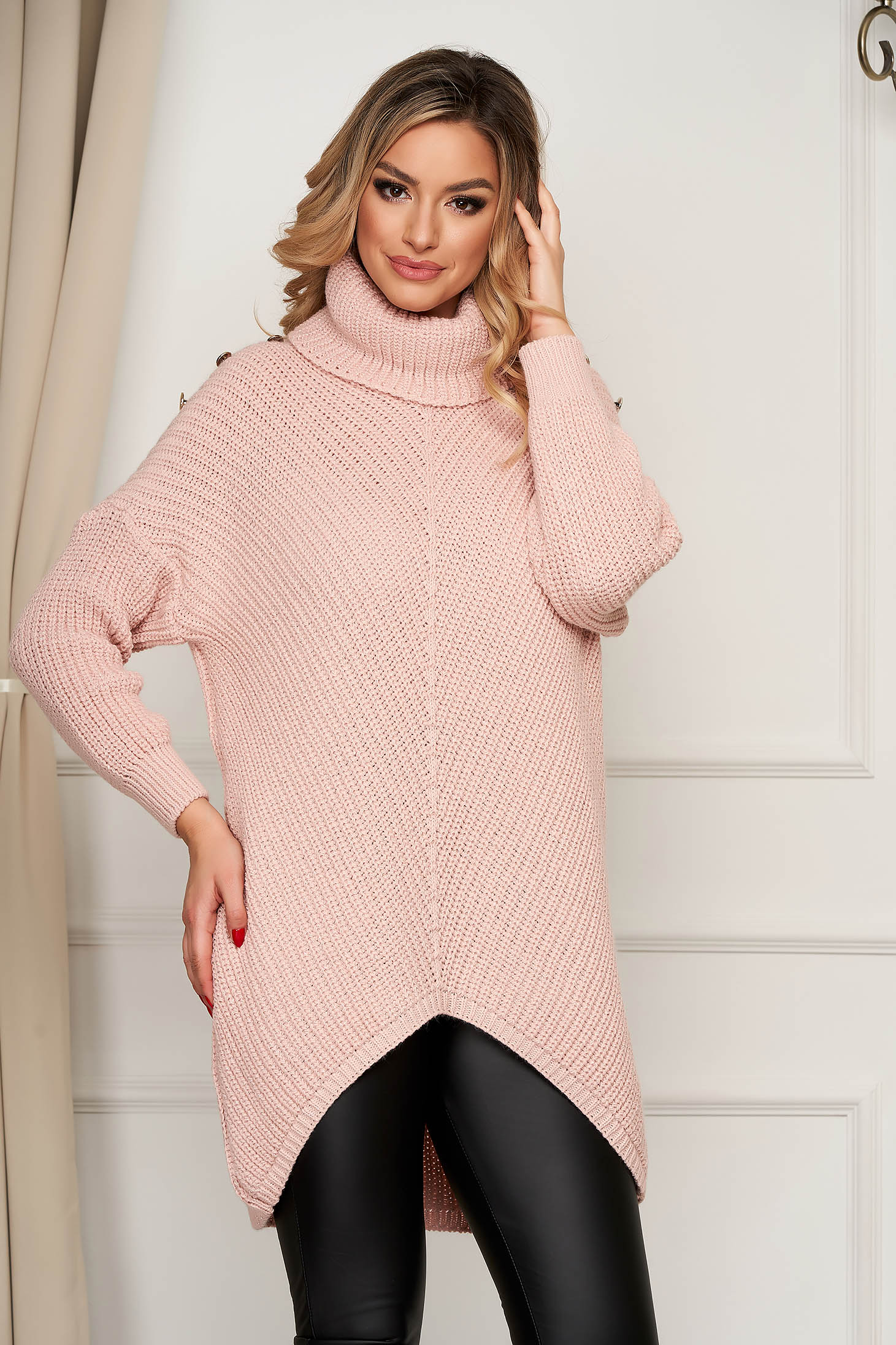 Lightpink sweater knitted with turtle neck asymmetrical with button accessories