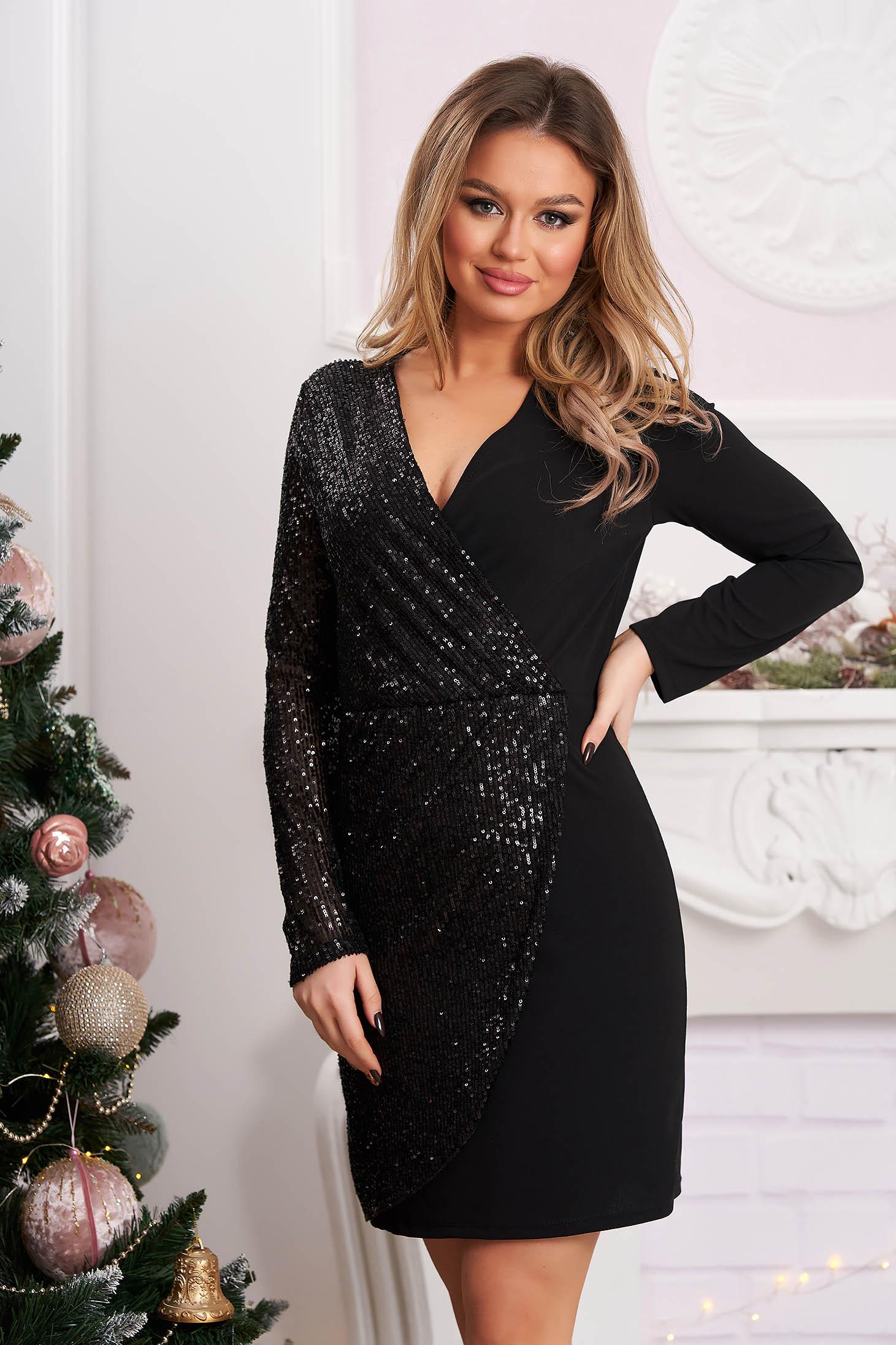 Black dress short cut occasional pencil cloth with sequins