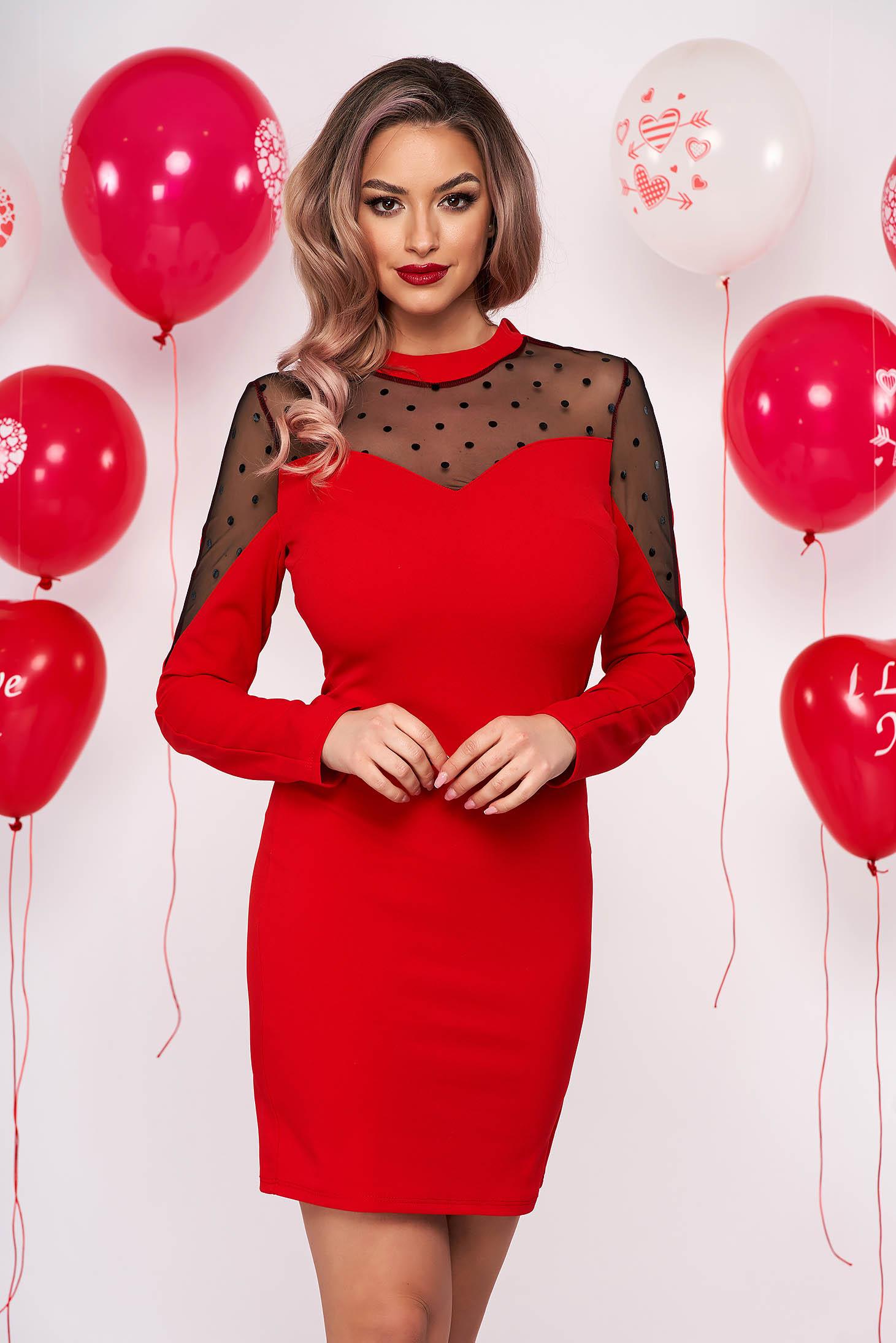 Red dress occasional short cut pencil thin fabric plumeti