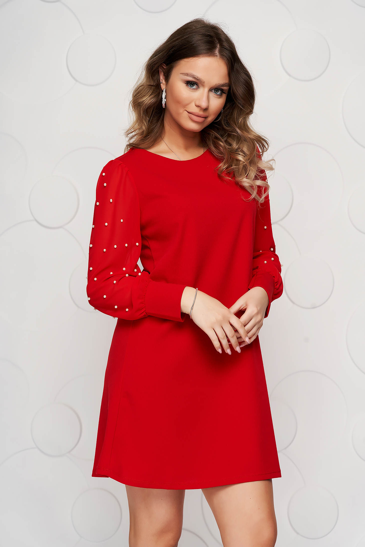 Red dress occasional short cut flared with veil sleeves with pearls