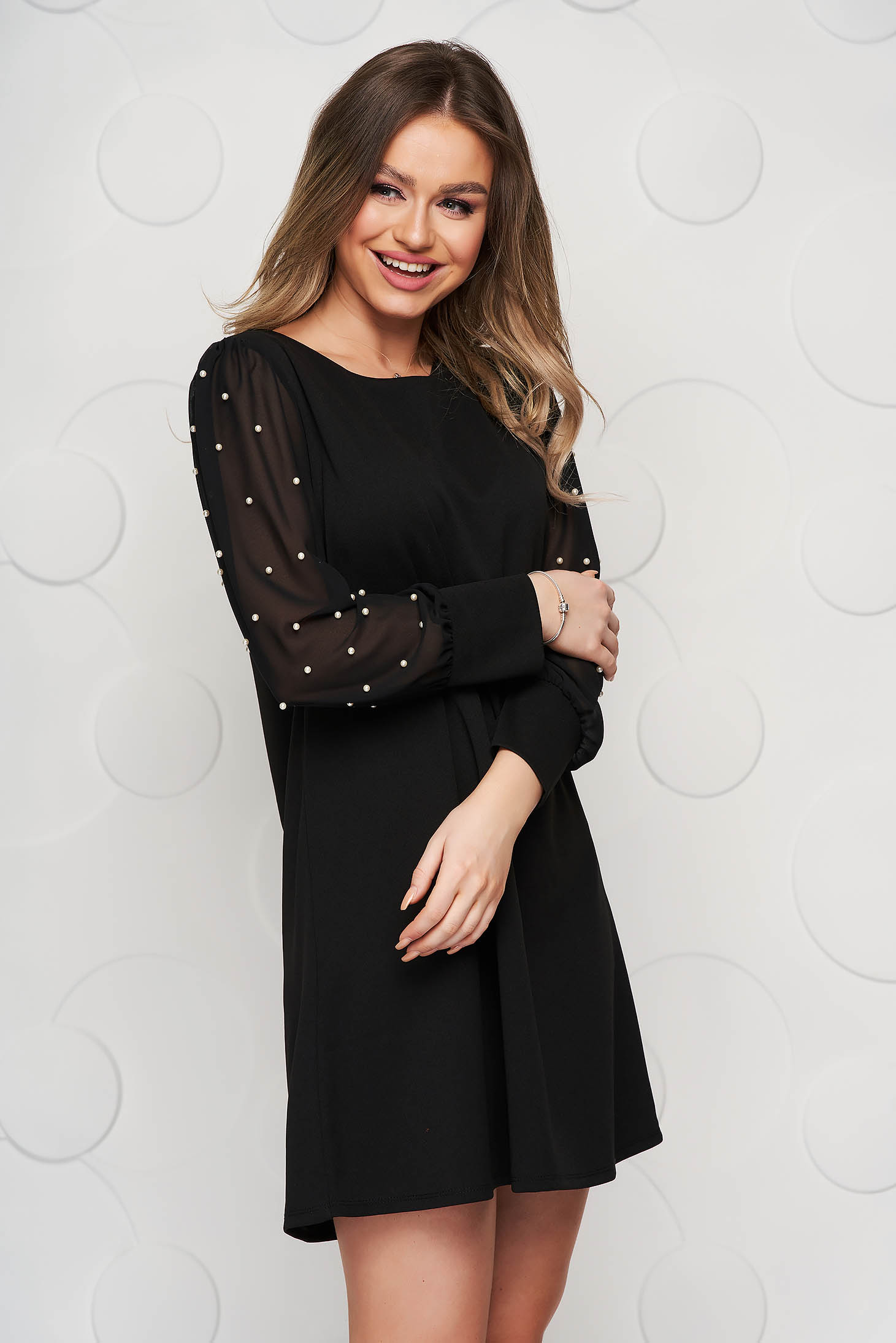 Black dress occasional short cut flared with veil sleeves with pearls