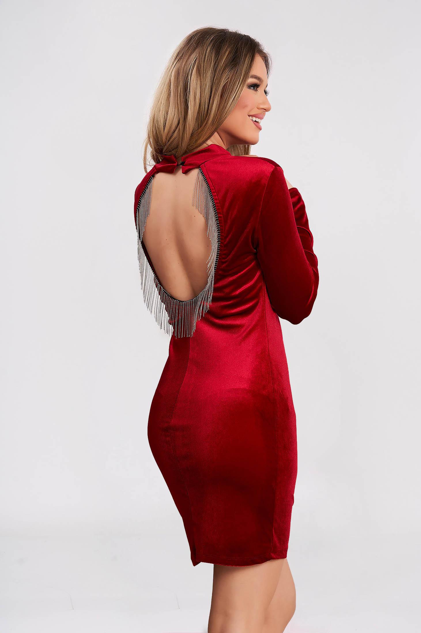 Red dress occasional short cut velvet bare back with fringes pencil