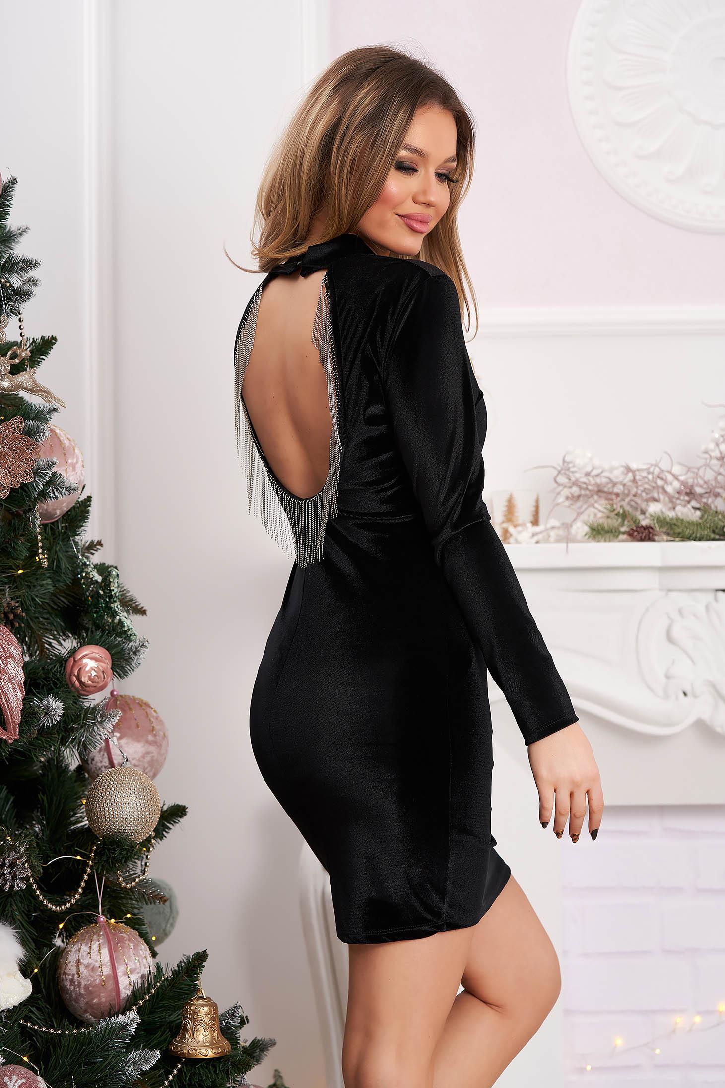 Black dress occasional short cut velvet bare back with fringes pencil