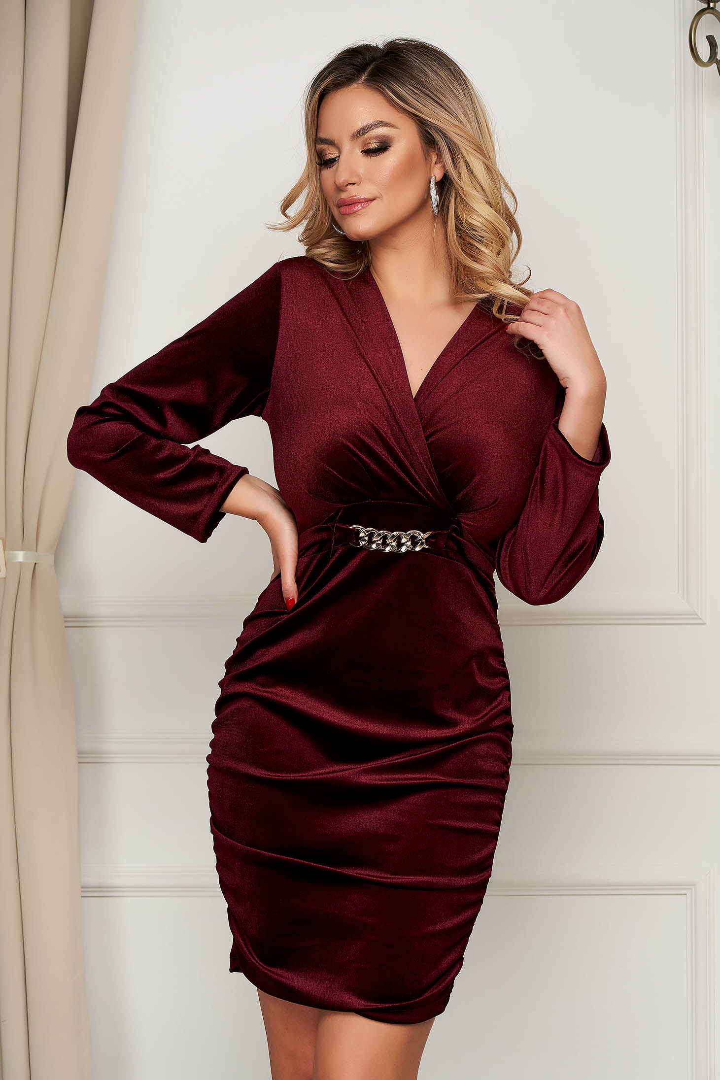 Burgundy dress velvet occasional wrap over front metallic chain accessory