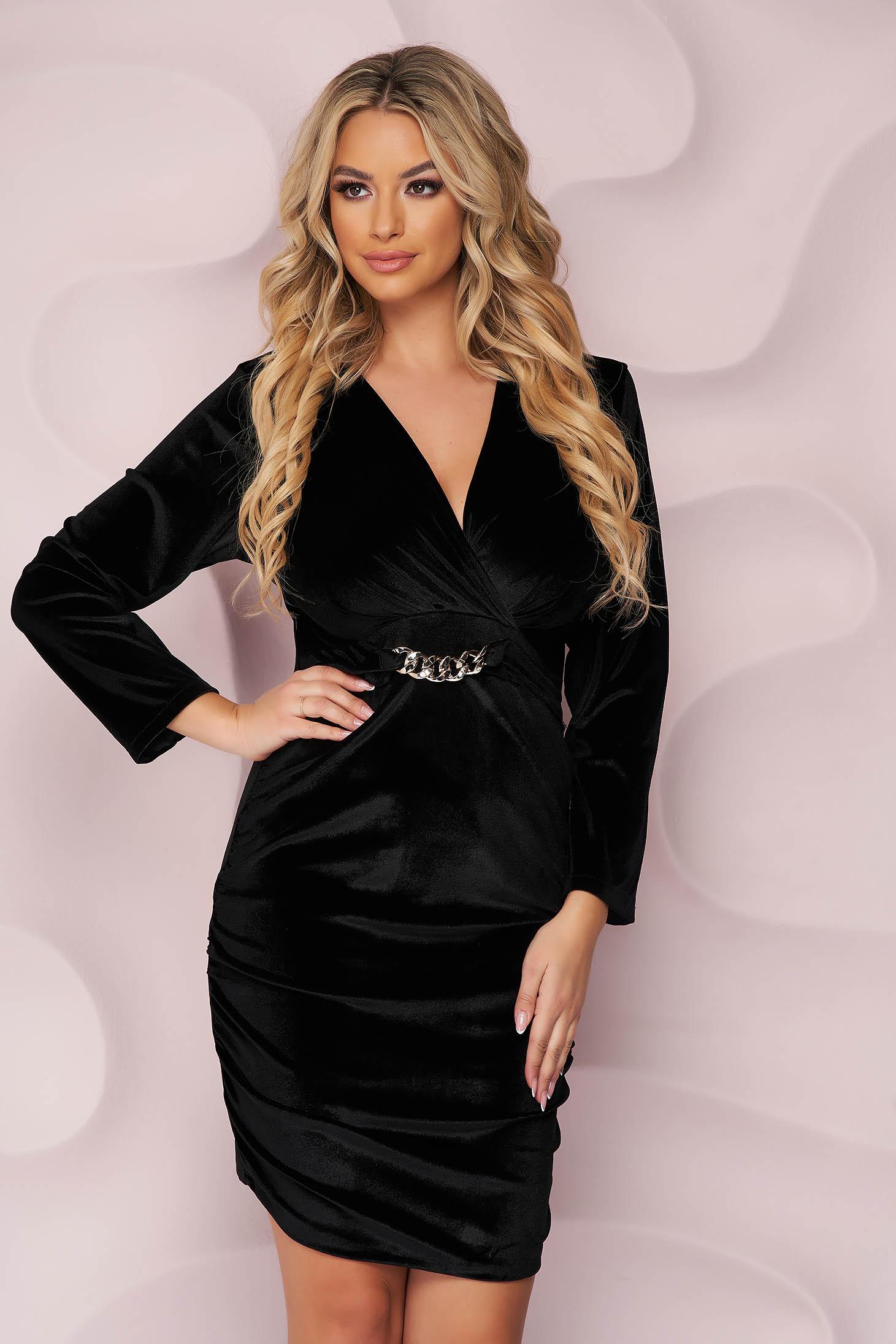 Black dress velvet occasional wrap over front metallic chain accessory