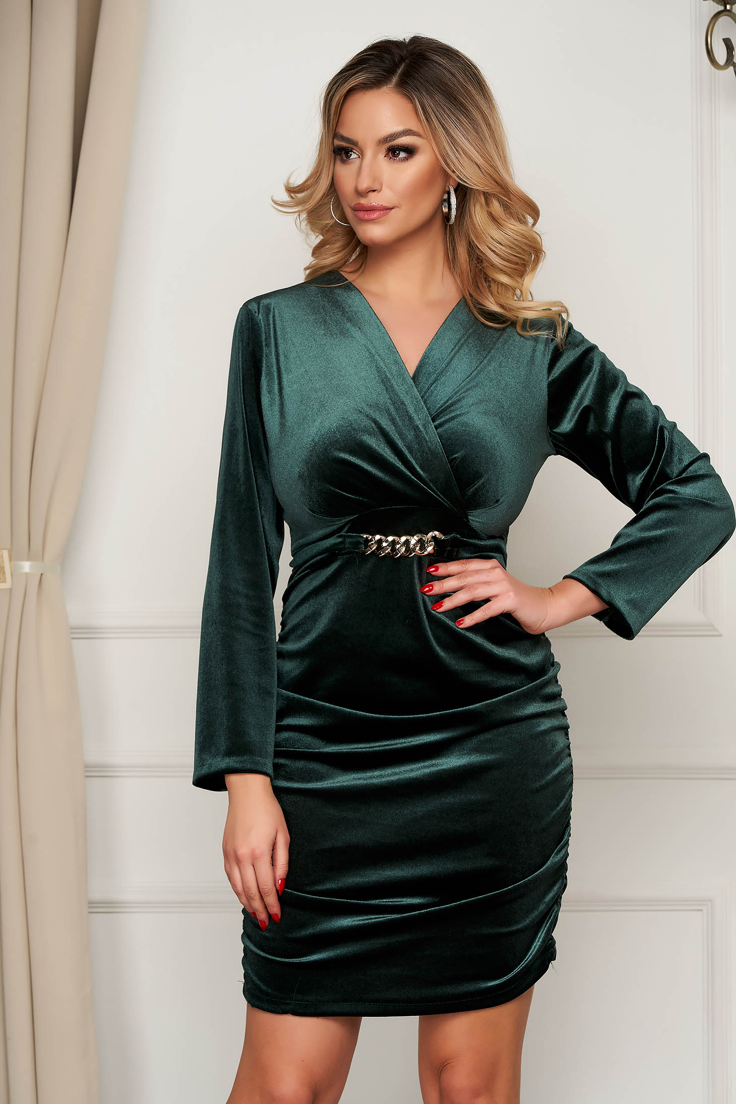 Green dress velvet occasional wrap over front metallic chain accessory