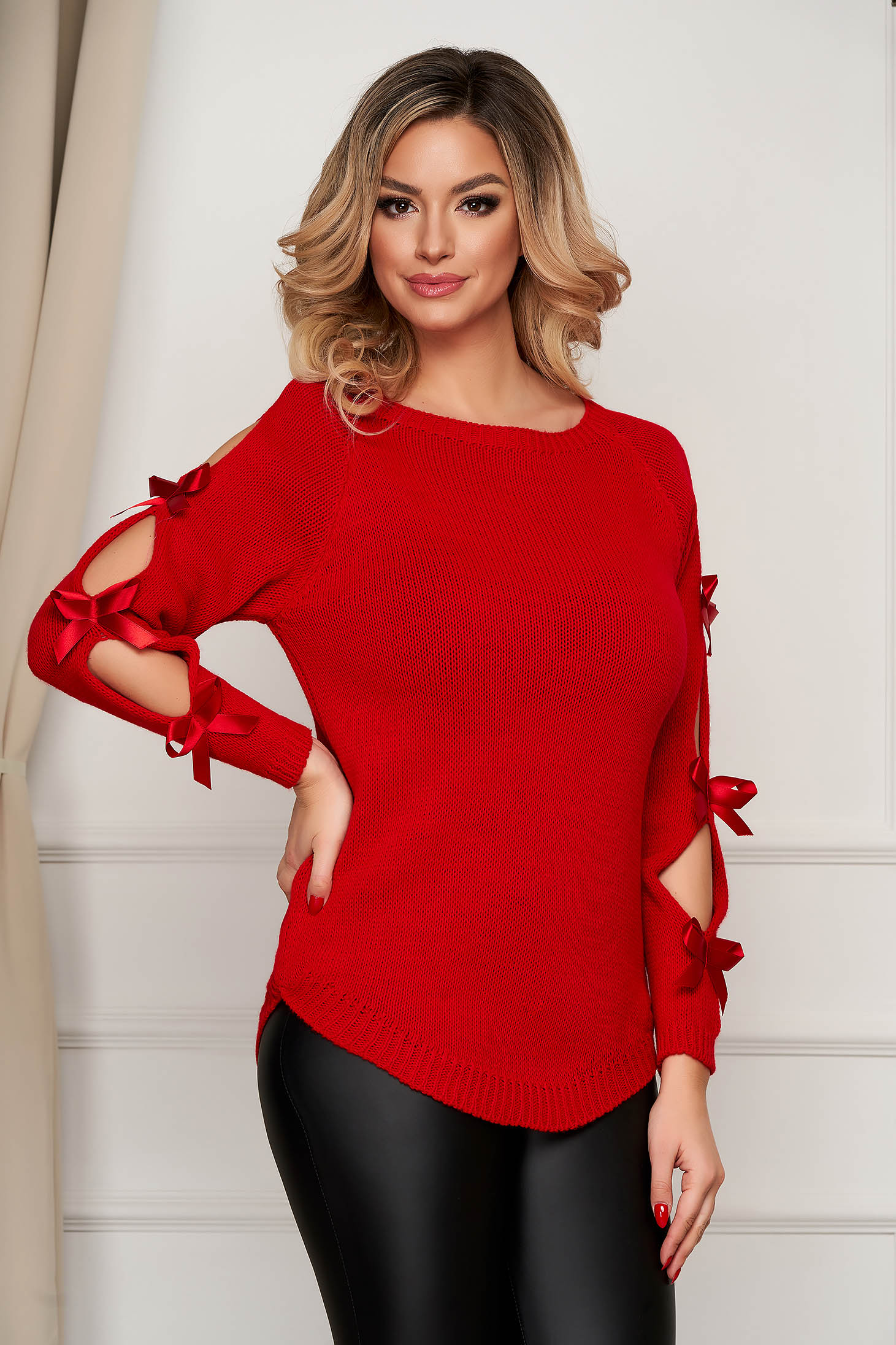 Red sweater knitted with bow accessories casual loose fit