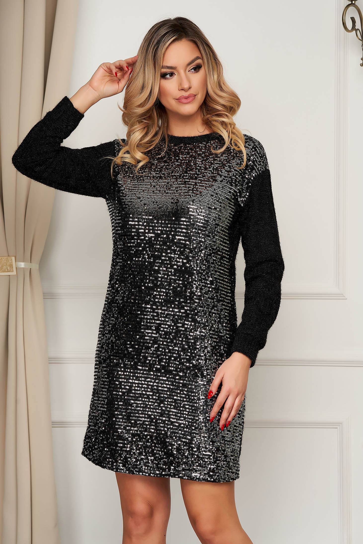 Clubbing short cut from elastic fabric with sequin embellished details silver dress