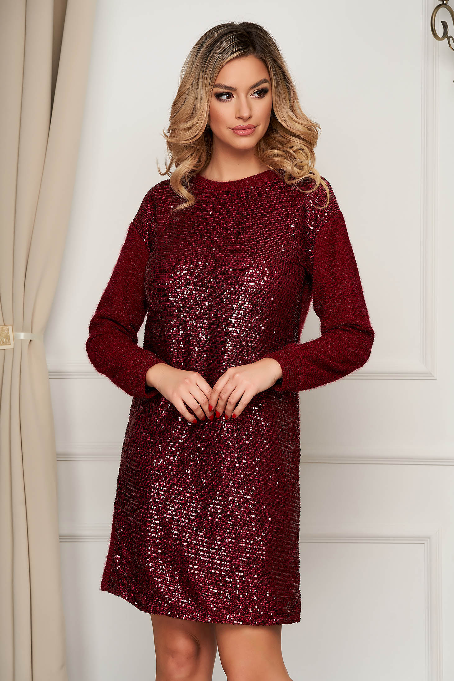 Clubbing short cut from elastic fabric with sequin embellished details burgundy dress