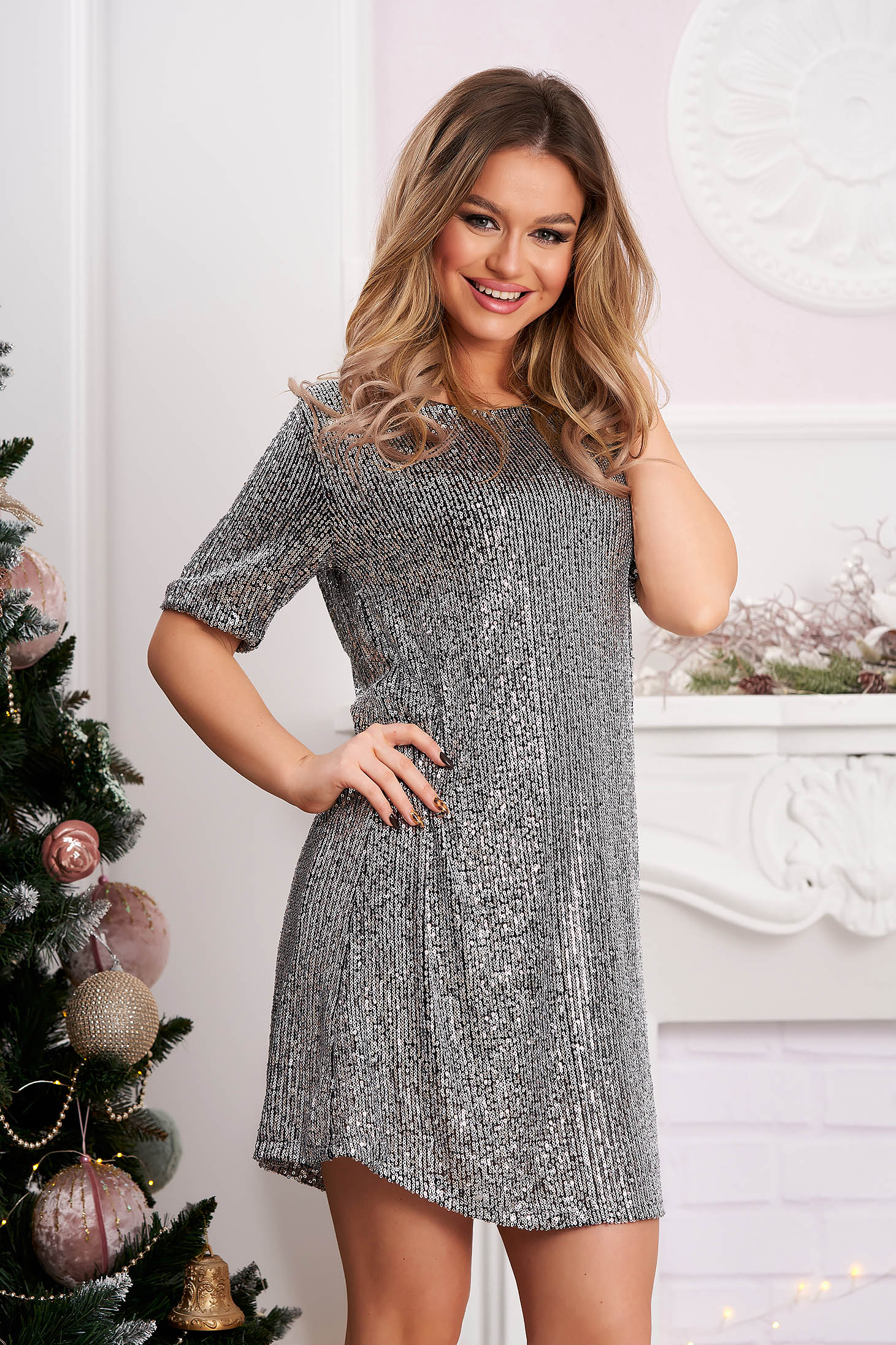 Silver dress clubbing with sequins short cut flared with inside lining