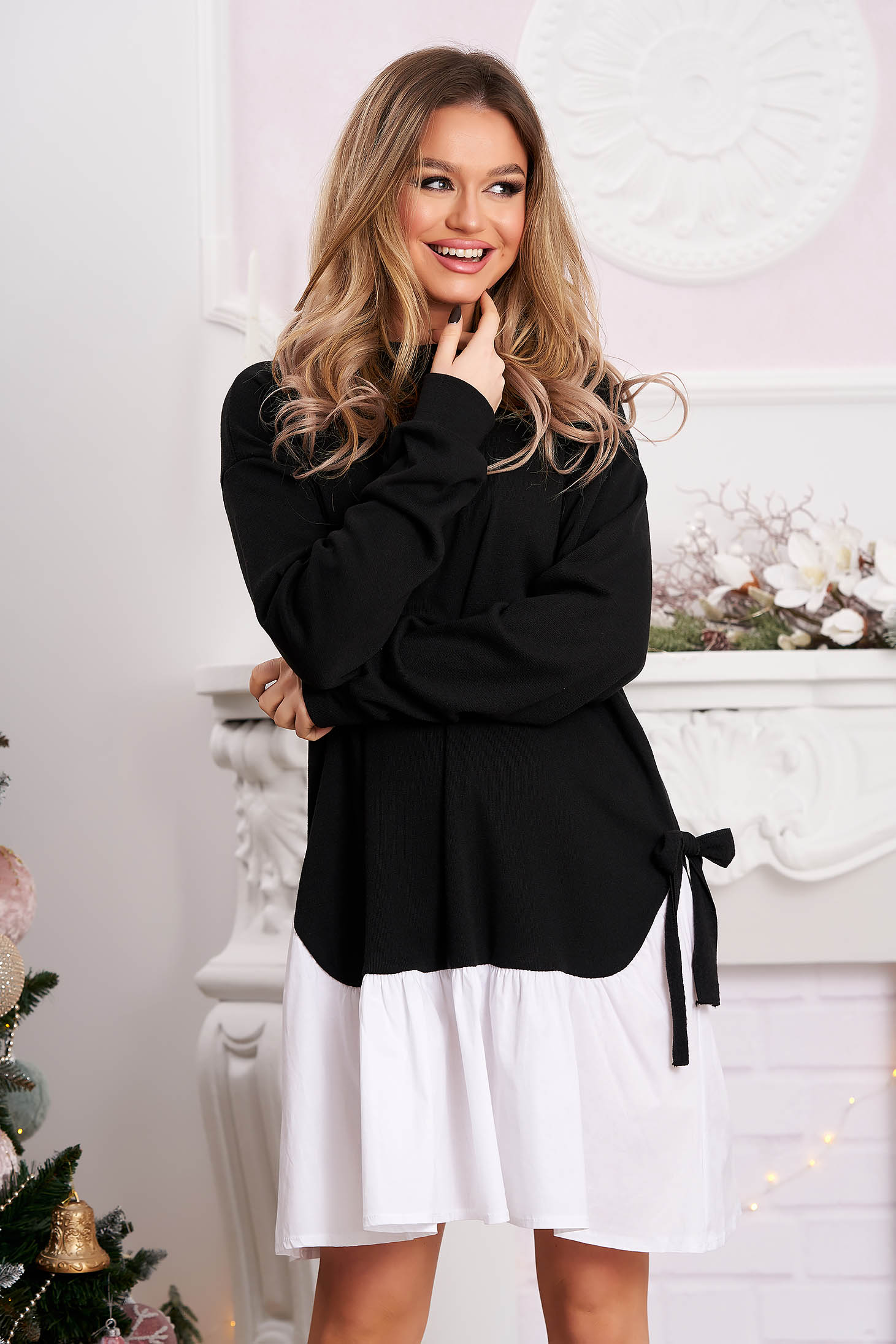 Black dress casual flared with bow accessories short cut