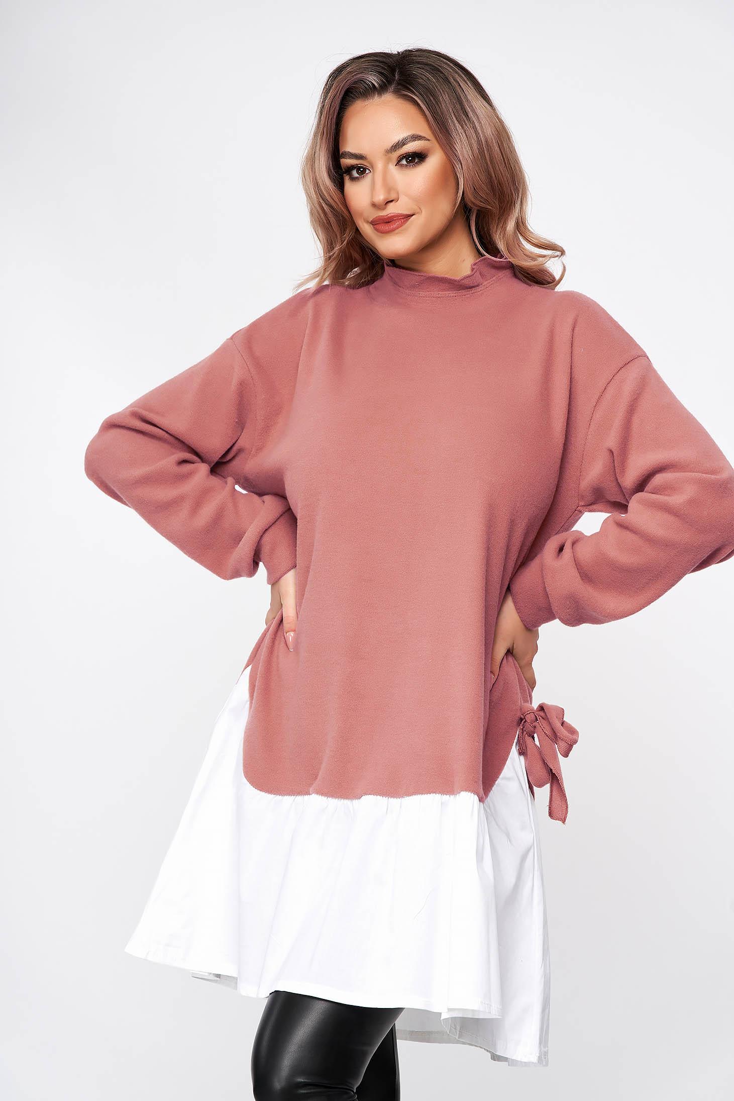 Rochie SunShine roz prafuit casual scurta cu croi larg accesorizata cu fundite