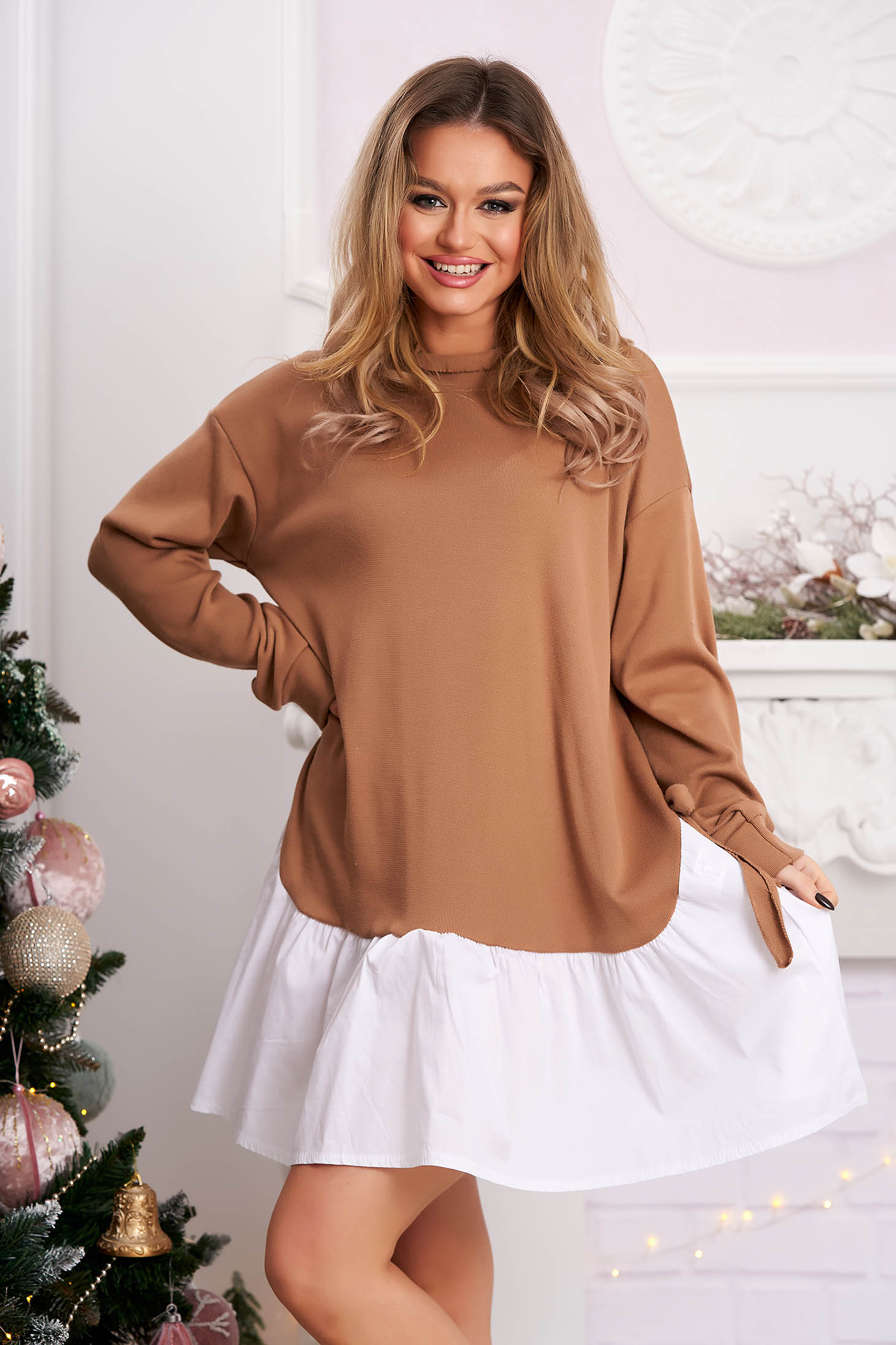 Cappuccino dress casual flared with bow accessories short cut