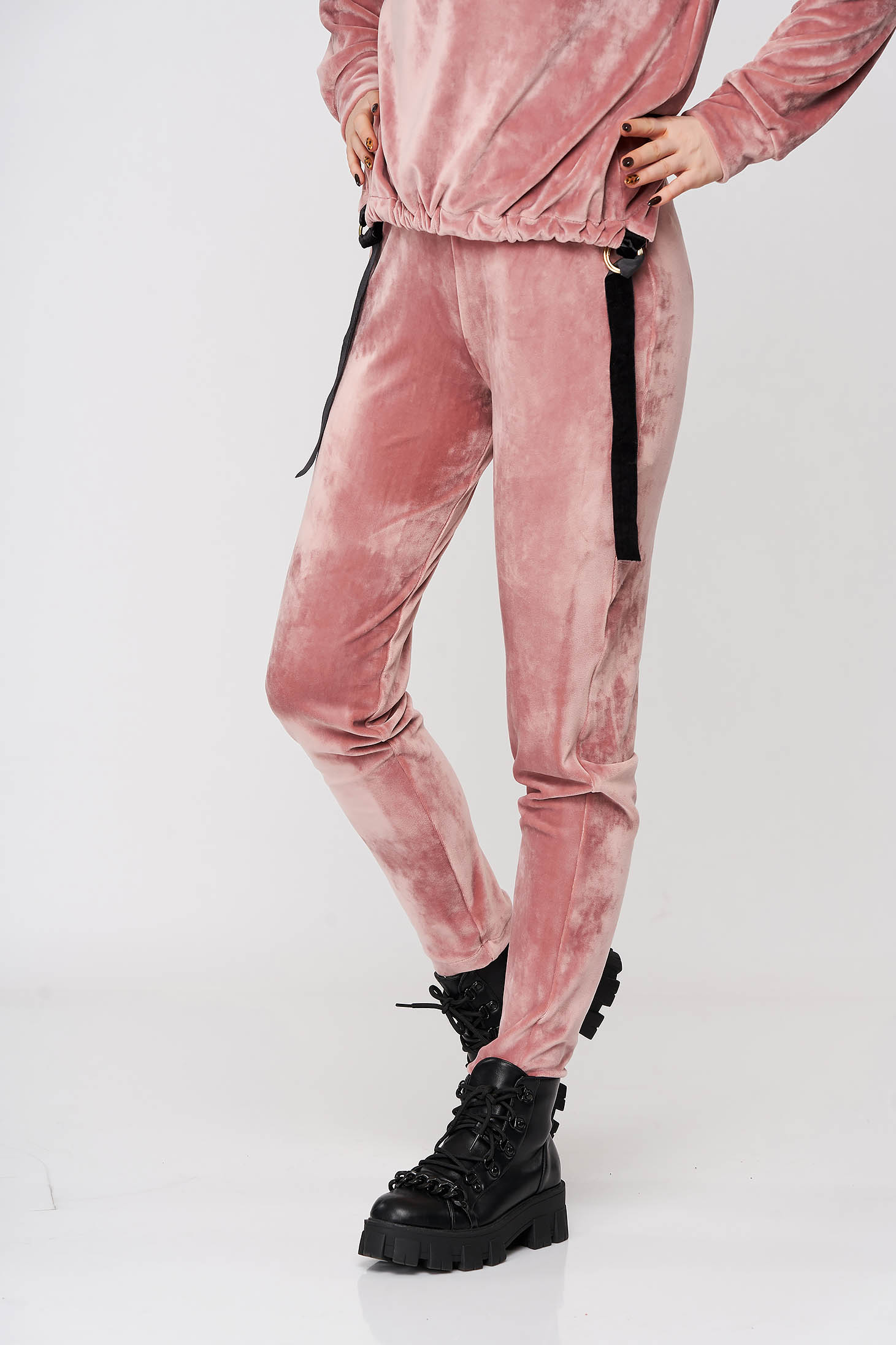 Trousers velvet lightpink StarShinerS casual conical high waisted with elastic waist