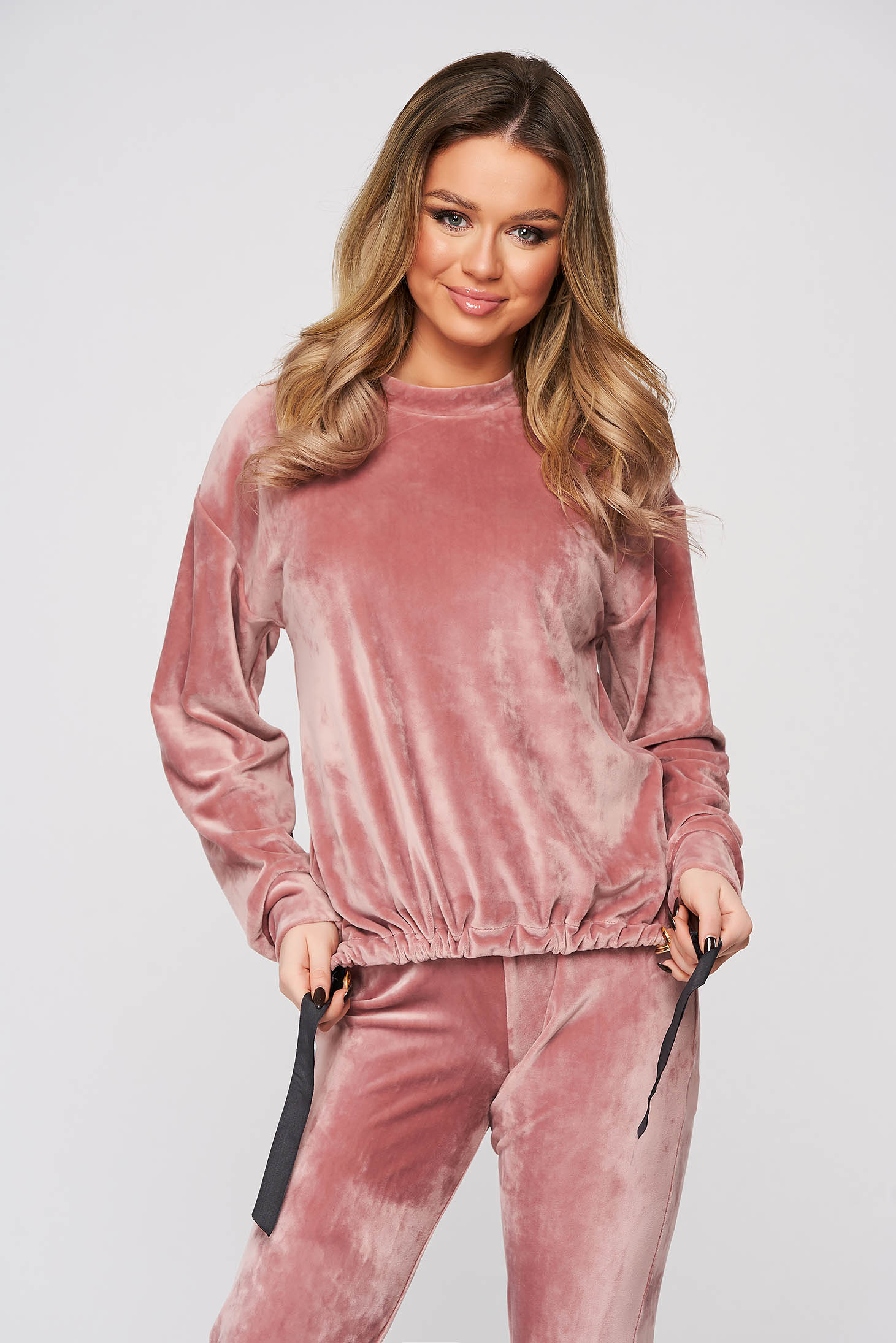 Casual women`s blouse lightpink StarShinerS velvet with laced details flared