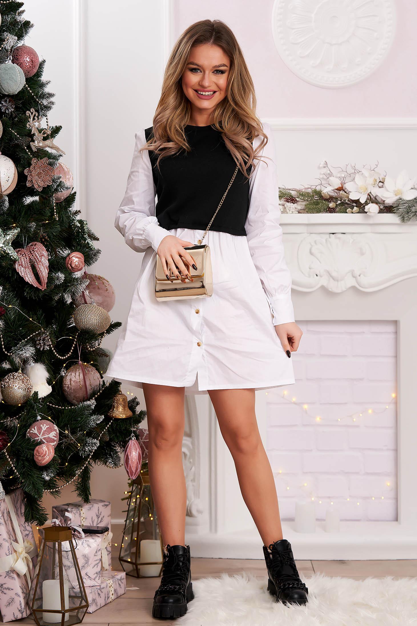 Black dress shirt dress poplin, thin cotton knitted flared
