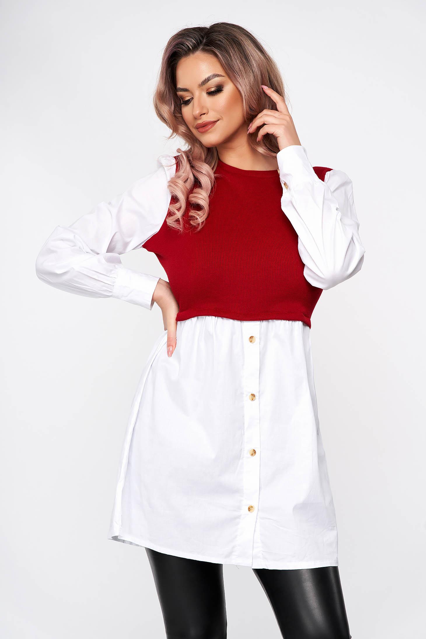 Burgundy dress shirt dress poplin, thin cotton knitted flared