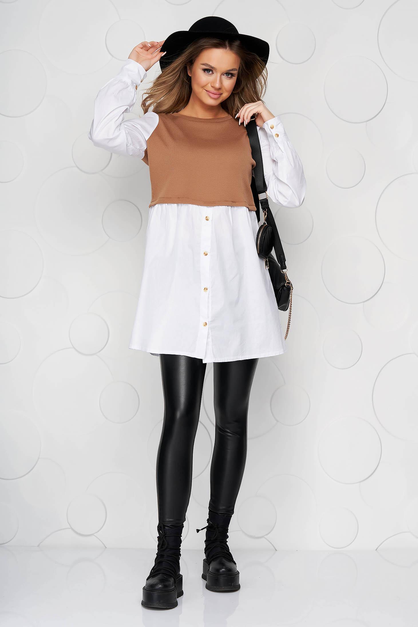 Rochie cappuccino tip camasa din bumbac subtire si tricot cu croi larg