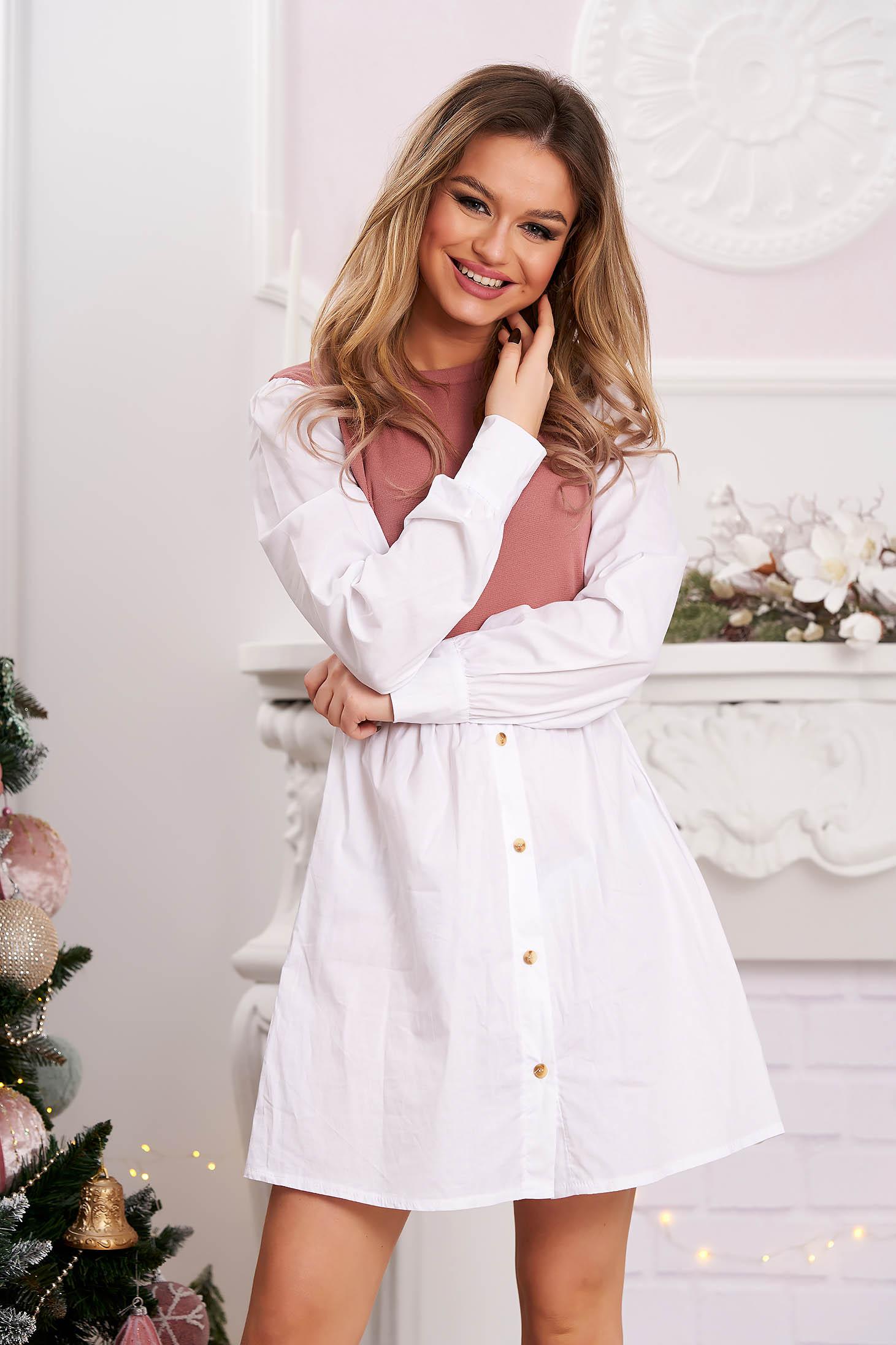 Lightpink dress shirt dress poplin, thin cotton knitted flared