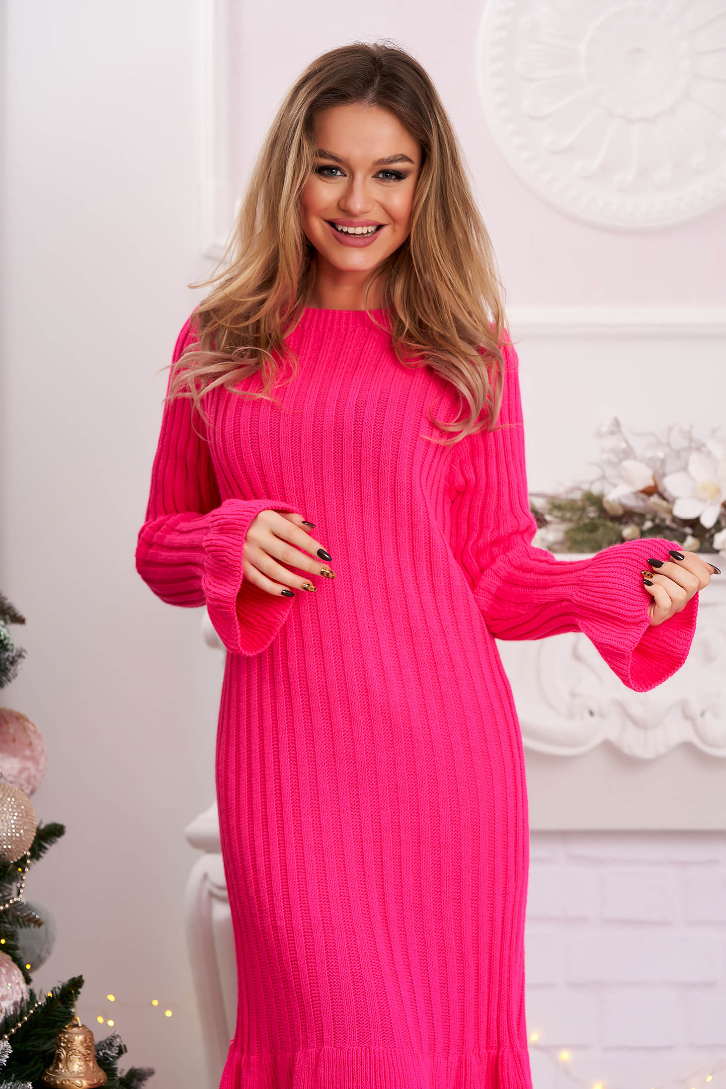 Midi dress pink from striped fabric knitted with bell sleeve