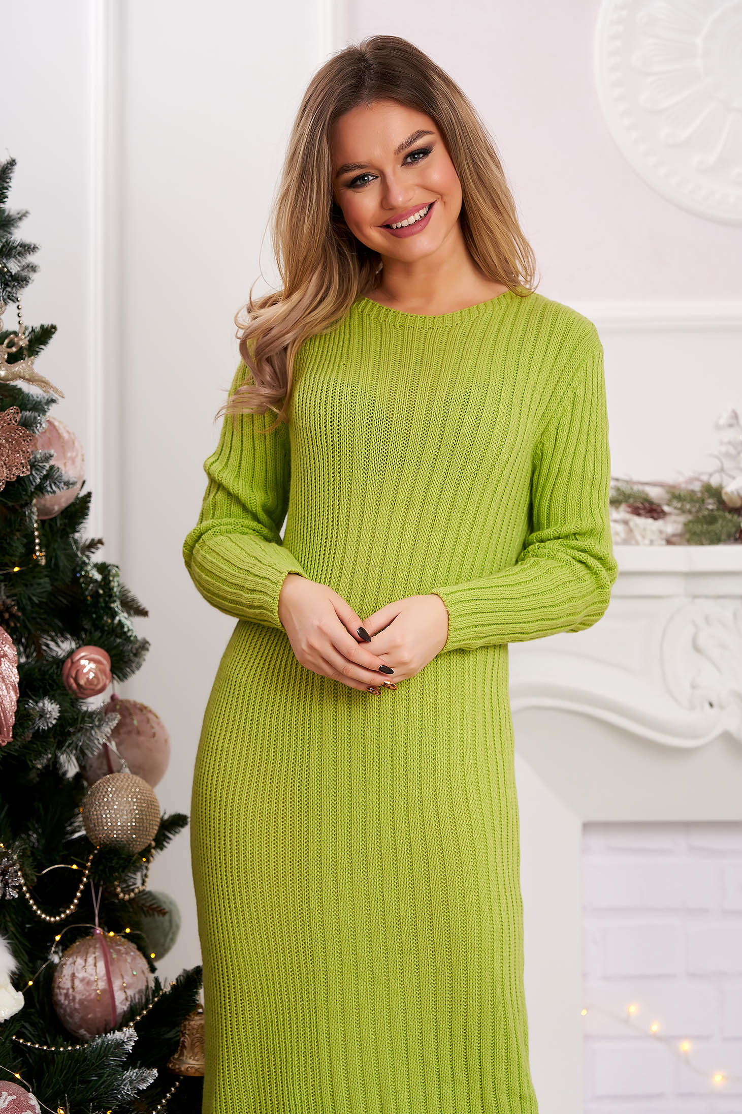 Lightgreen dress short cut from striped fabric knitted with rounded cleavage