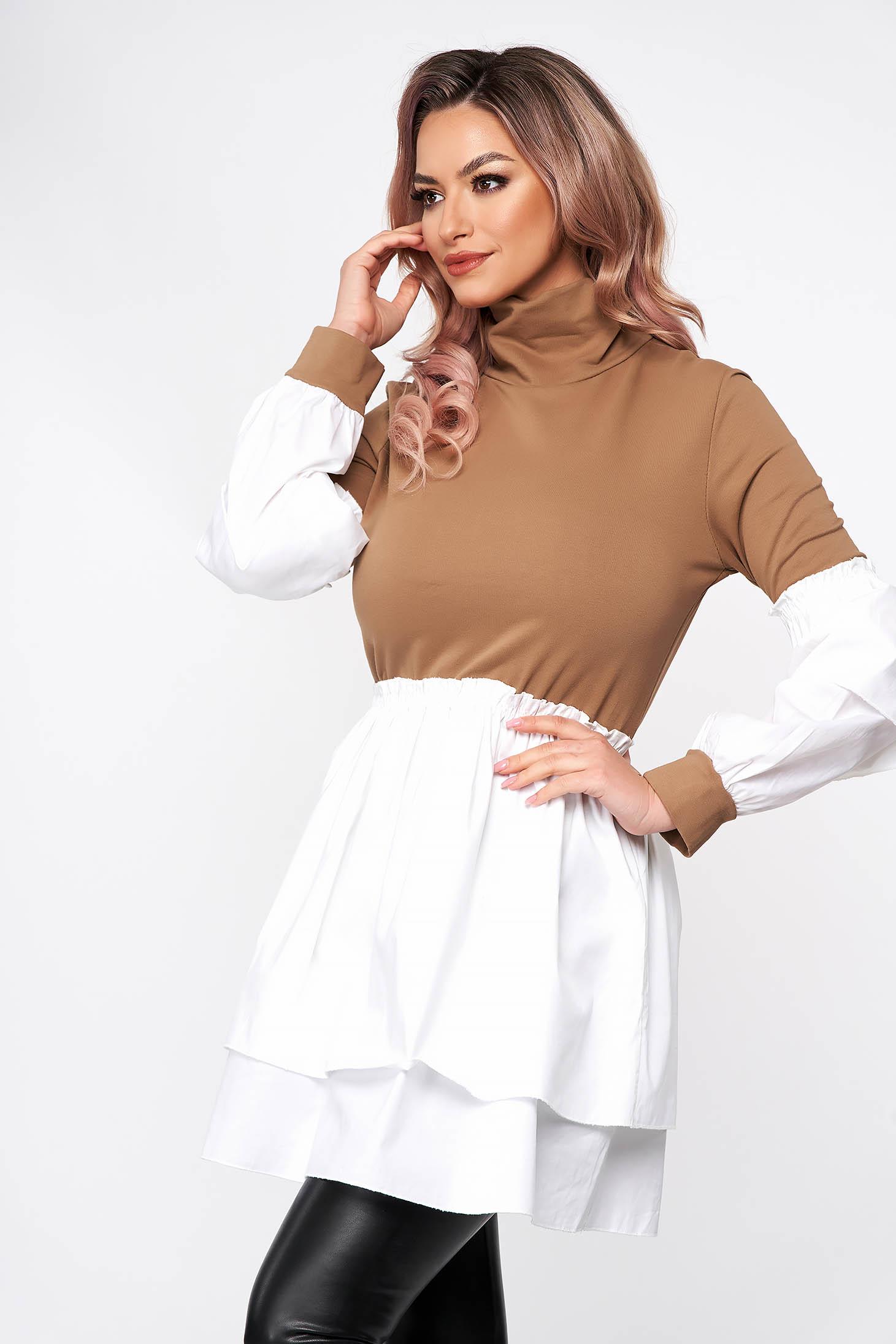 Cappuccino dress short cut turtleneck from elastic fabric