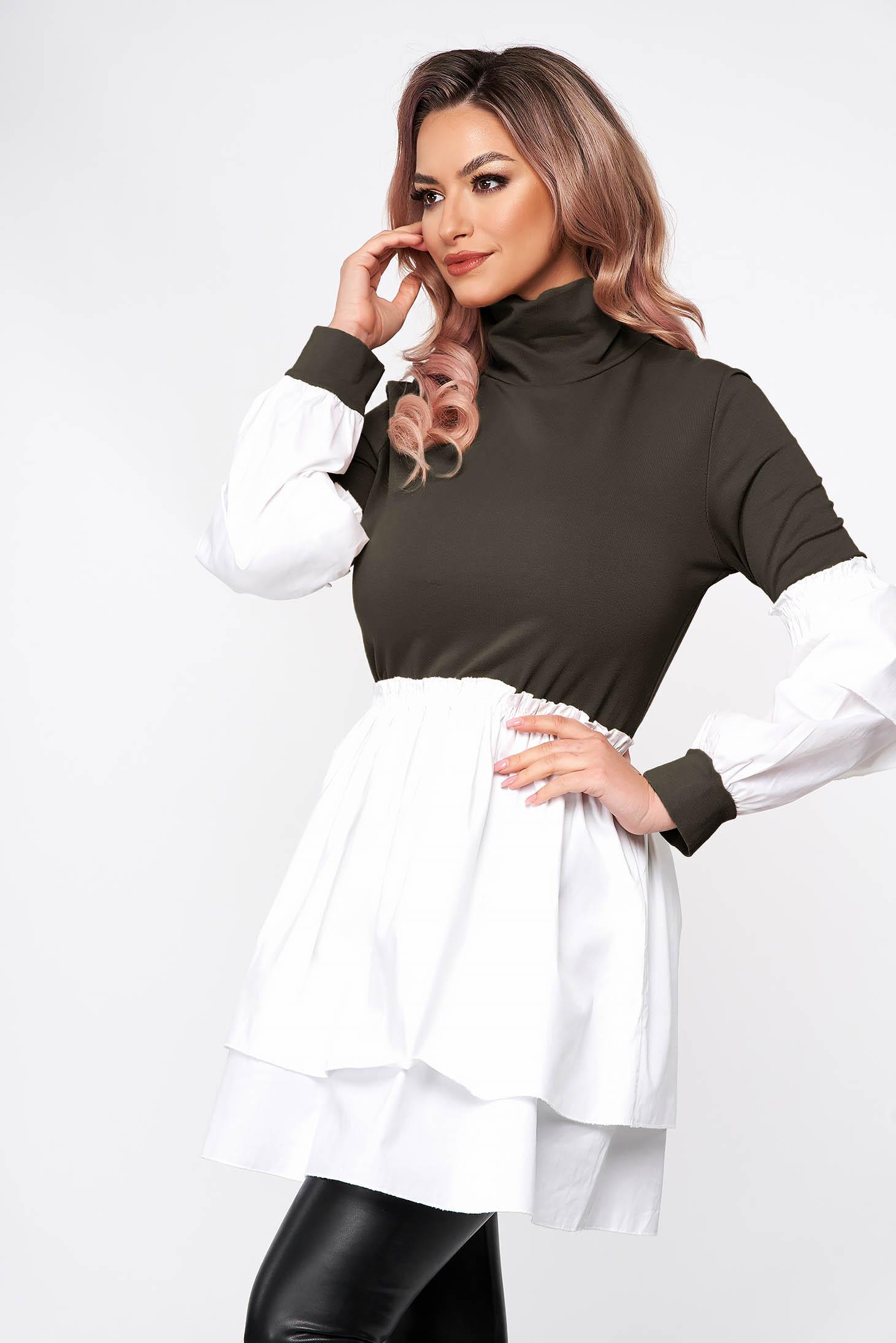 Khaki dress short cut turtleneck from elastic fabric