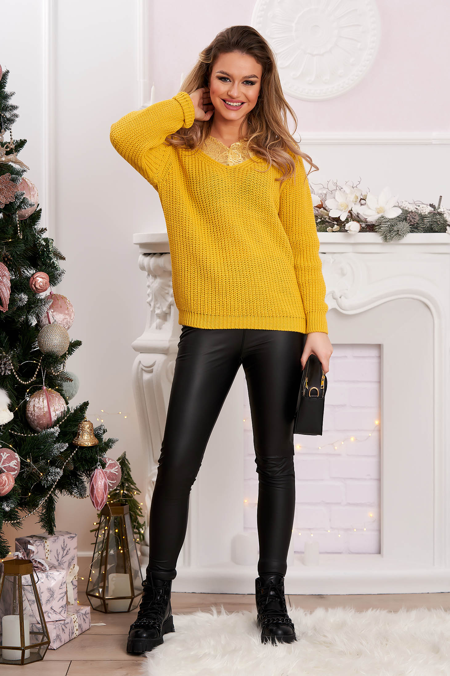 Sweater flared yellow knitted with lace details