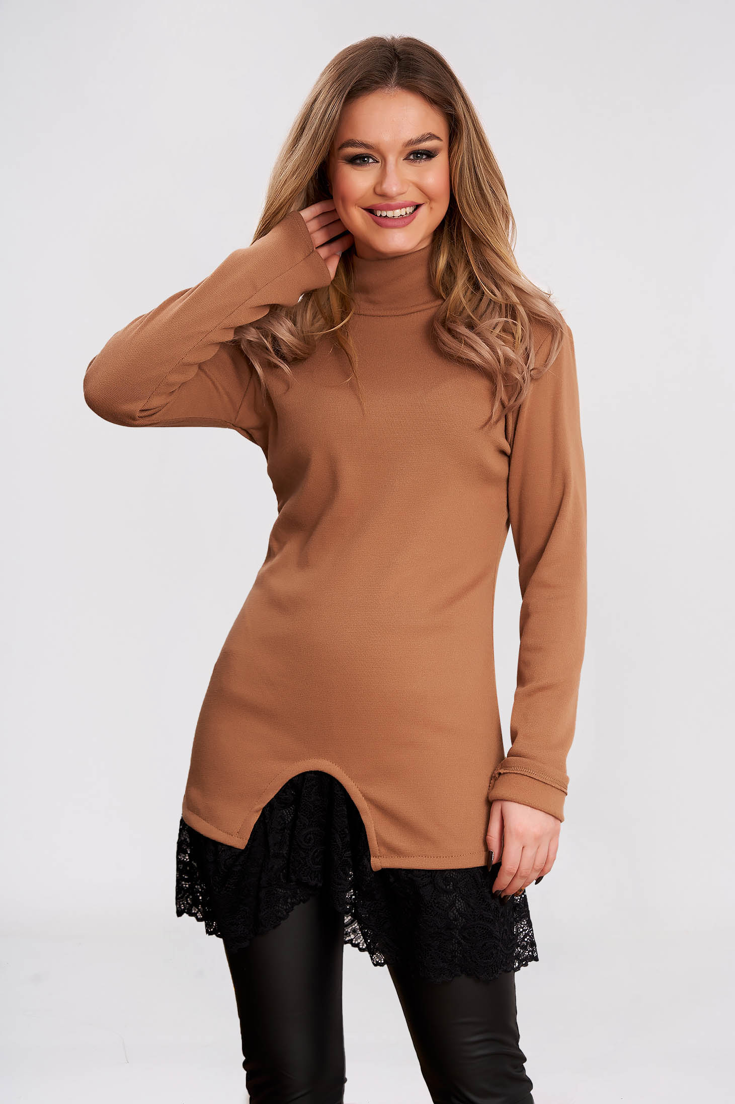 Women`s blouse cappuccino knitted turtleneck with lace details long