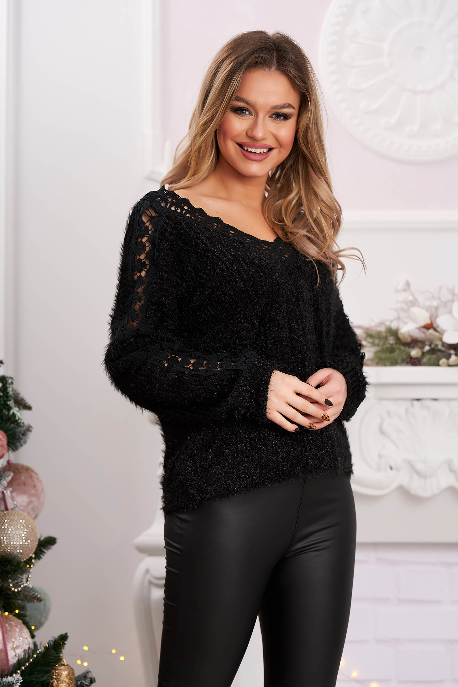 Black sweater casual knitted fabric with lace details flared