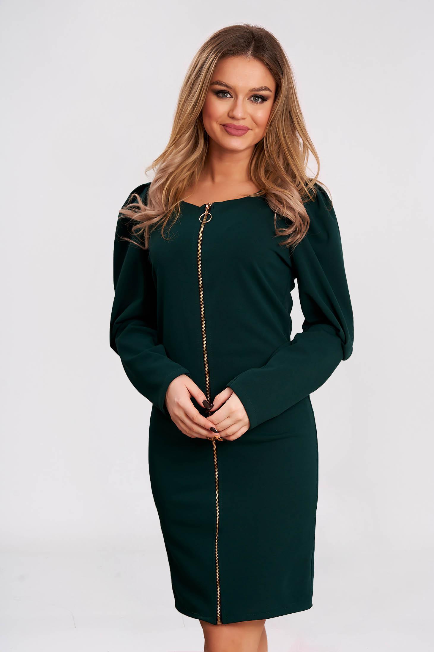 Dress slightly elastic fabric darkgreen short cut flared high shoulders
