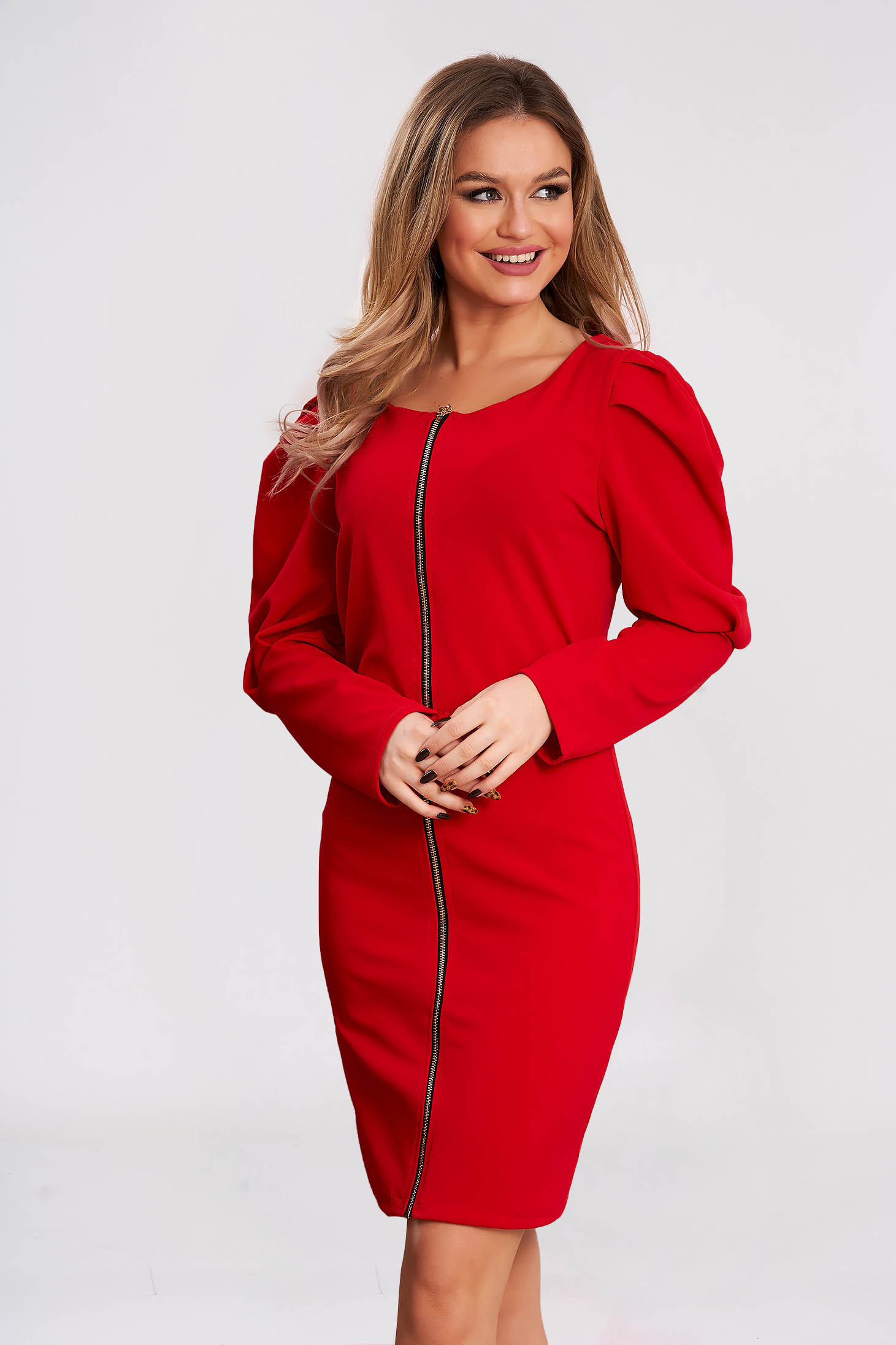 Dress slightly elastic fabric red short cut flared high shoulders