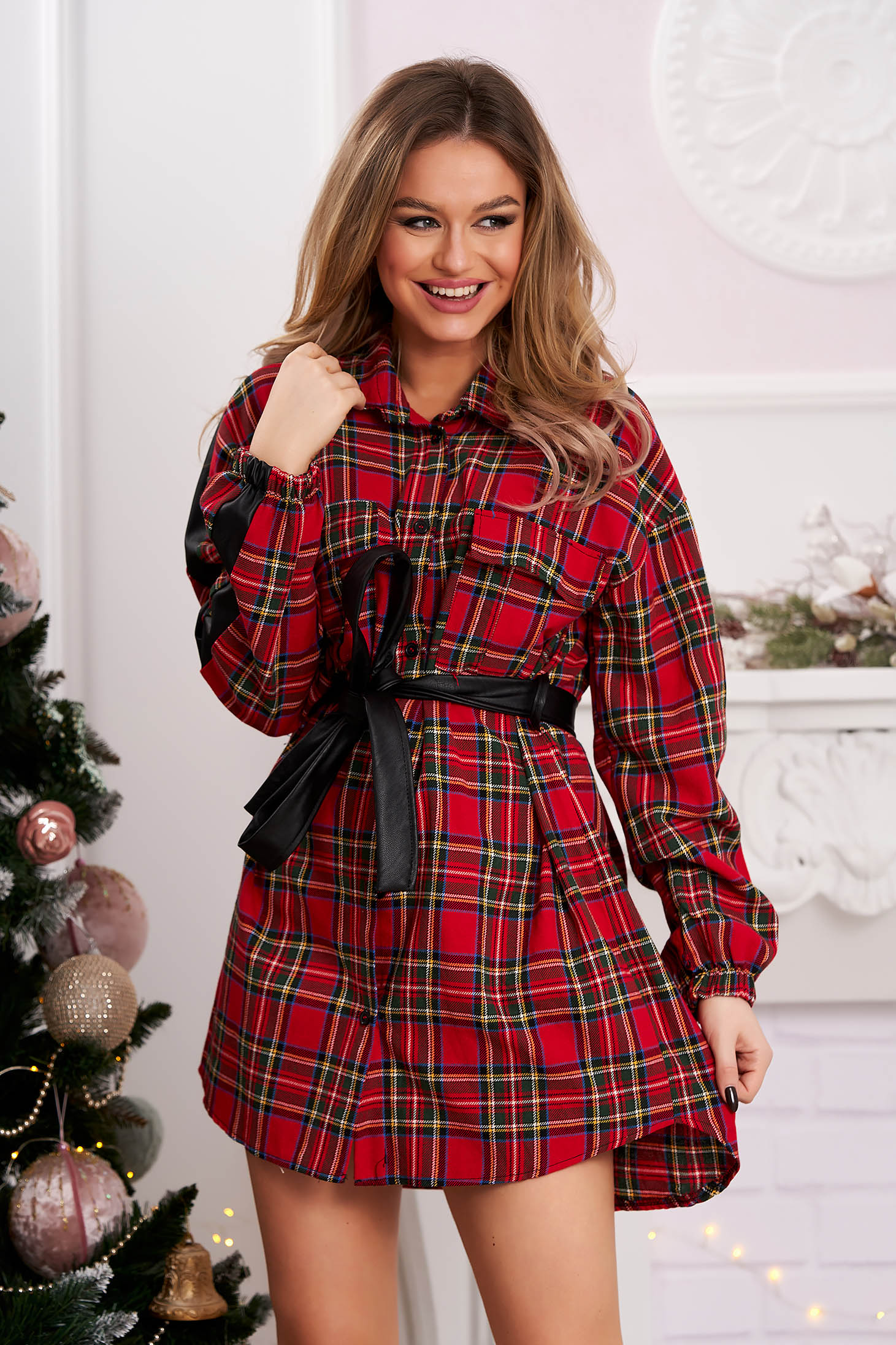 Red dress shirt dress flared accessorized with belt with chequers