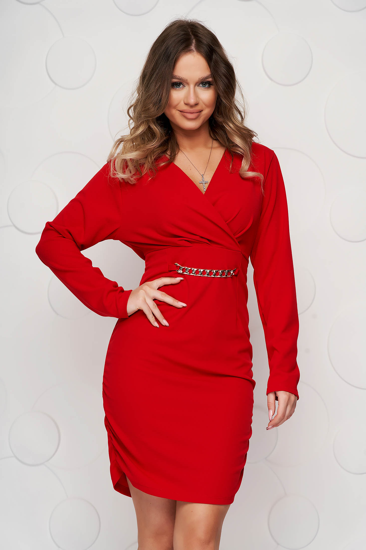 Short cut dress red clubbing pencil wrinkled material on both sides