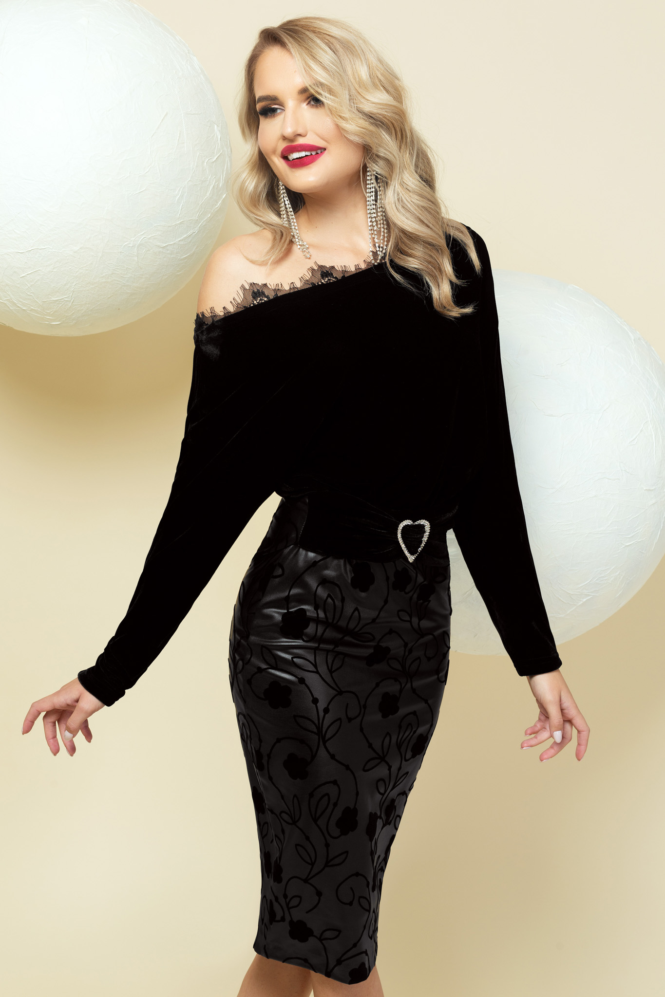 Dress black pencil one shoulder with lace details occasional